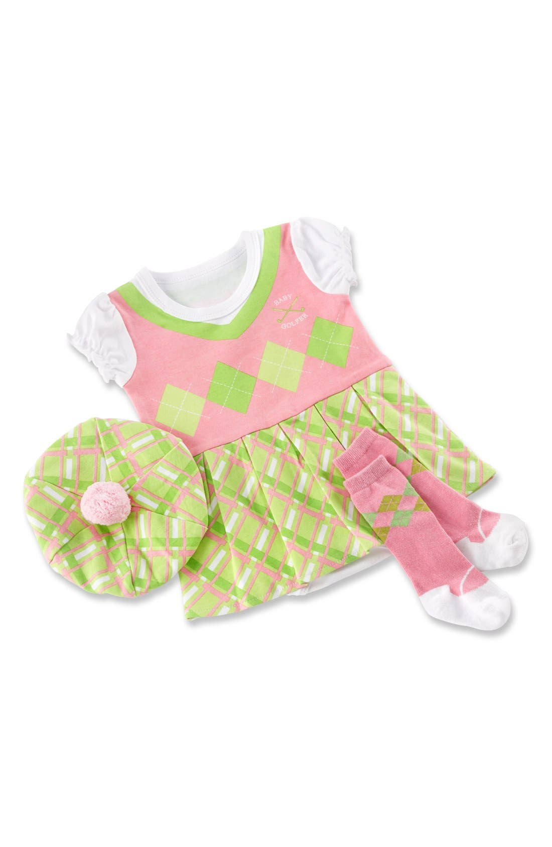 Alternate Image 1 Selected - Baby Aspen 'Big Dreamzzz - Golfer' Bodysuit, Hat & Socks (Baby Girls)