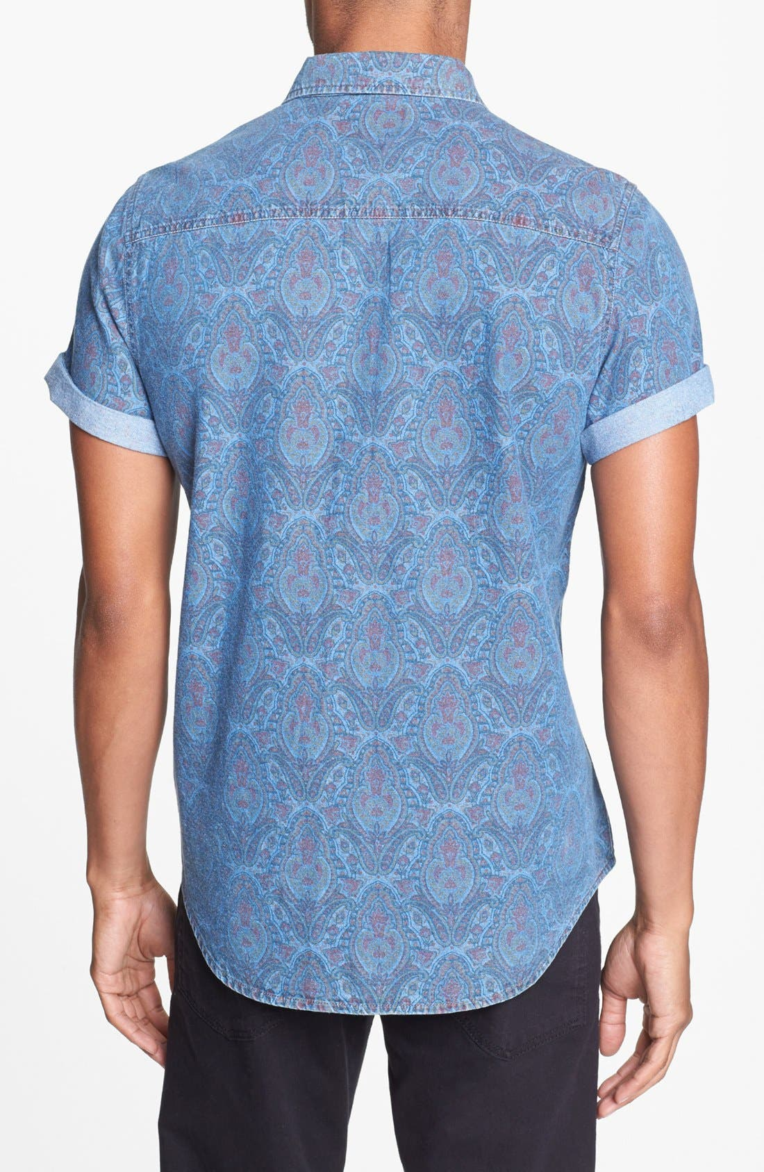 Alternate Image 3  - Topman Short Sleeve Paisley Print Shirt