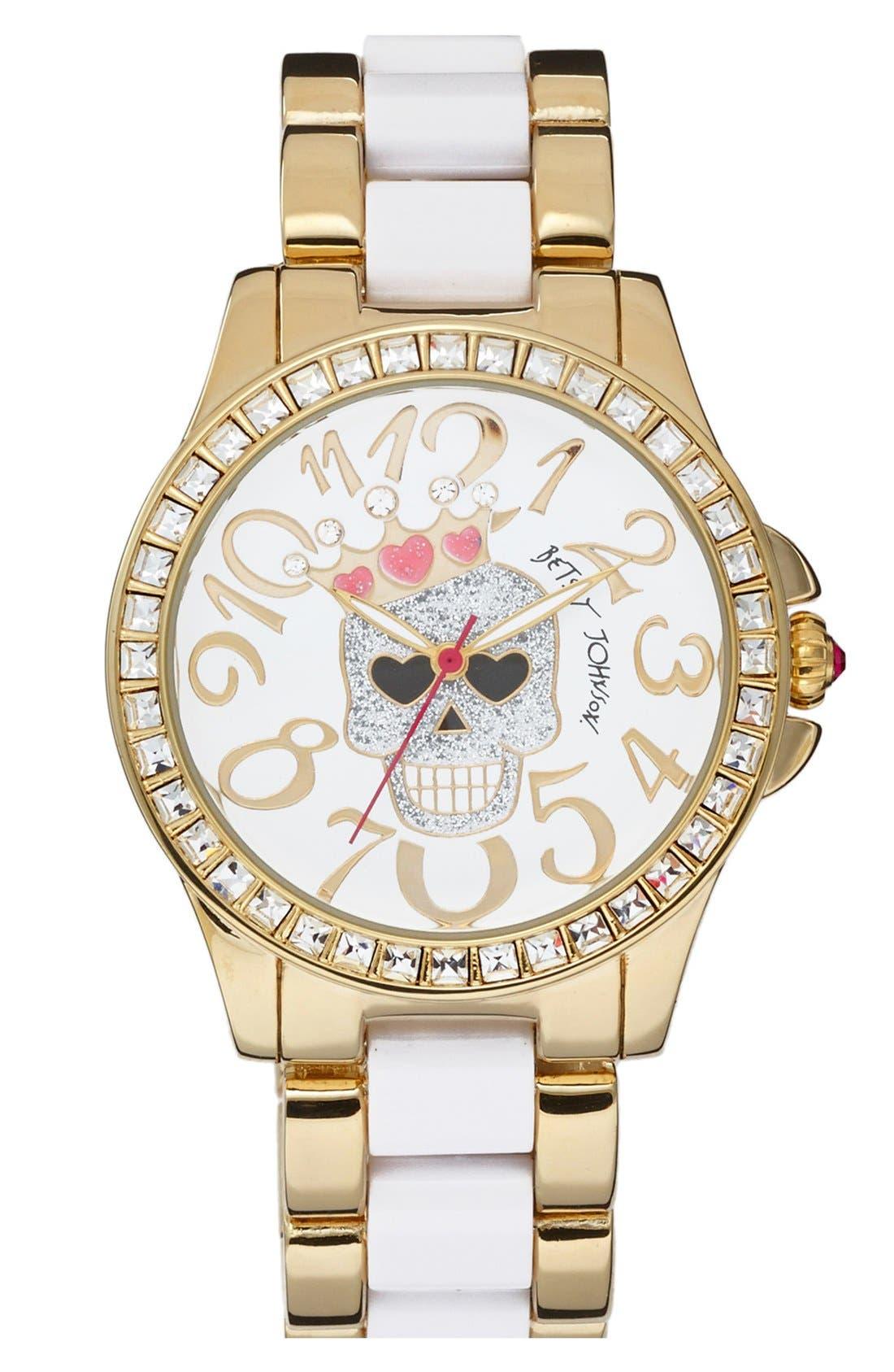 Main Image - Betsey Johnson Skull Dial Two Tone Bracelet Watch, 40mm