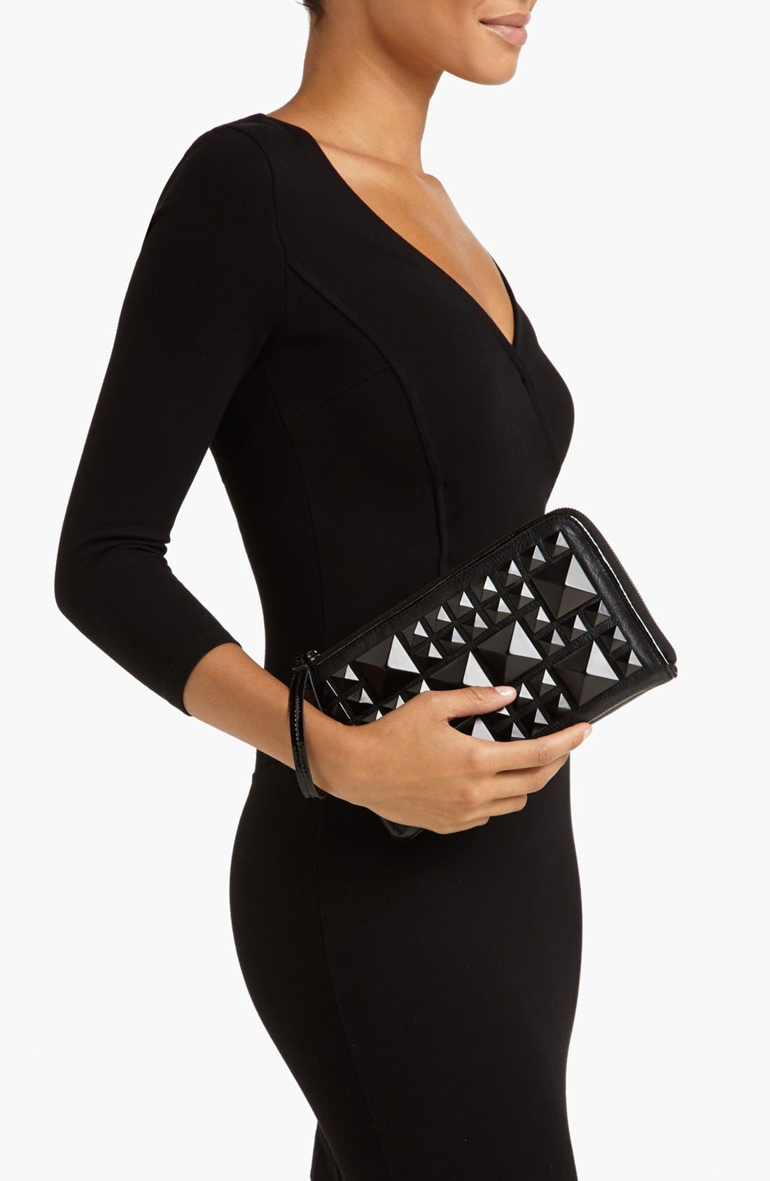 Alternate Image 2  - POVERTY FLATS by rian Matte Pyramid Stud Zip Clutch