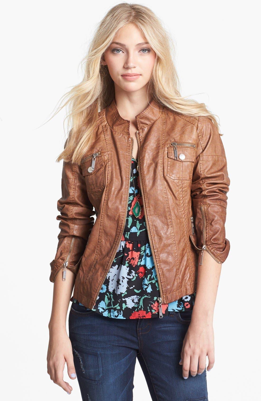 Alternate Image 1  - Jou Jou Faux Leather Bomber Jacket (Juniors)