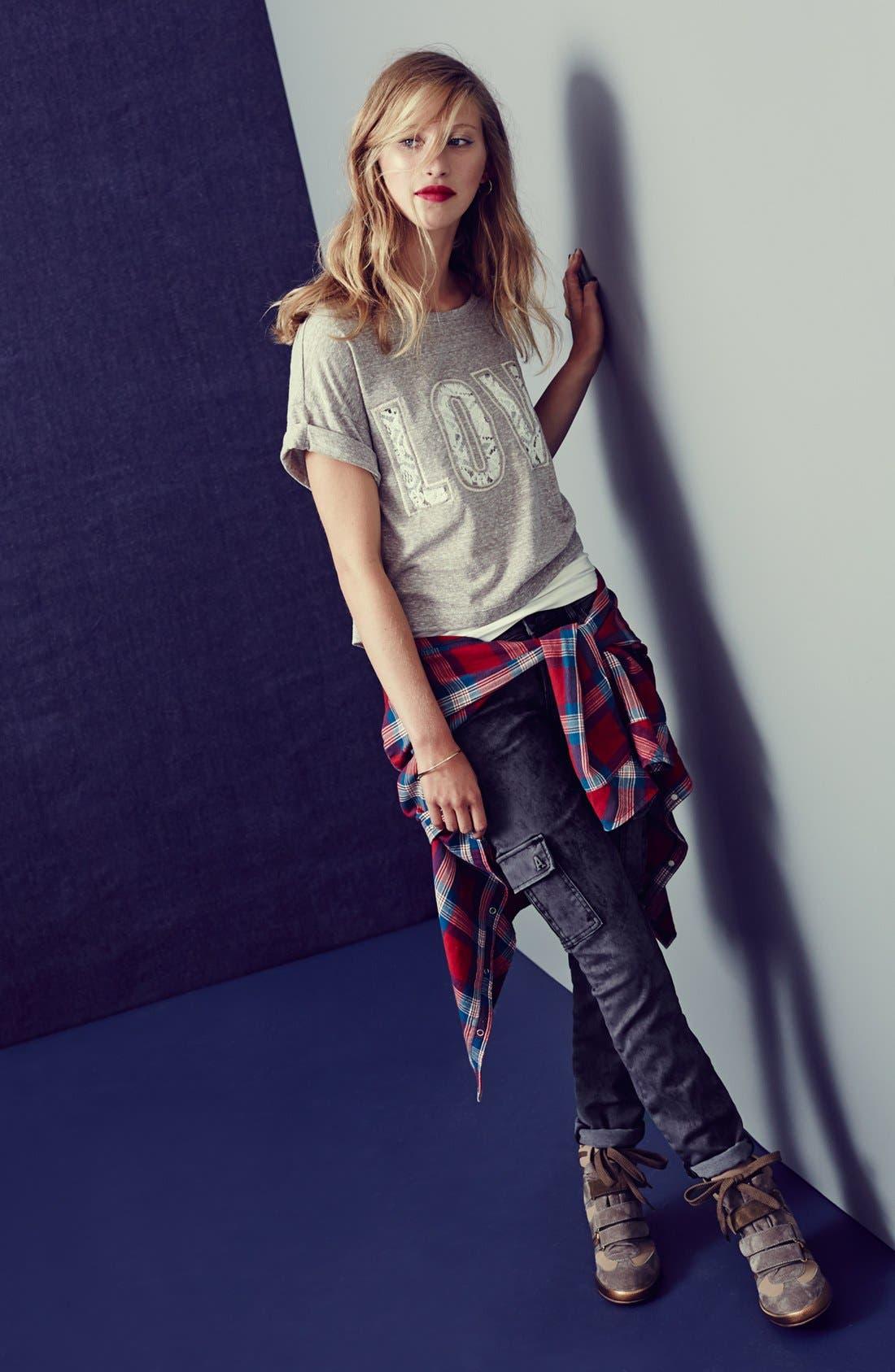 Alternate Image 4  - Articles of Society 'Mya' Acid Washed Cargo Skinny Jeans (Stone) (Juniors)