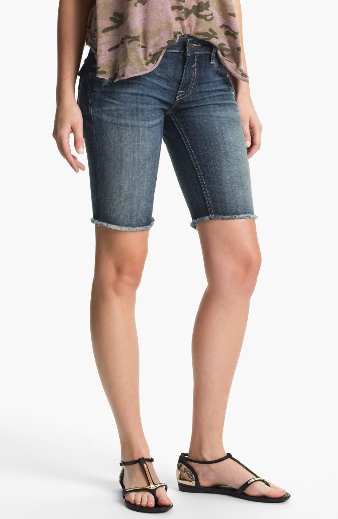 Main Image - Vigoss 'New York' Cutoff Denim Bermuda Shorts (Juniors)