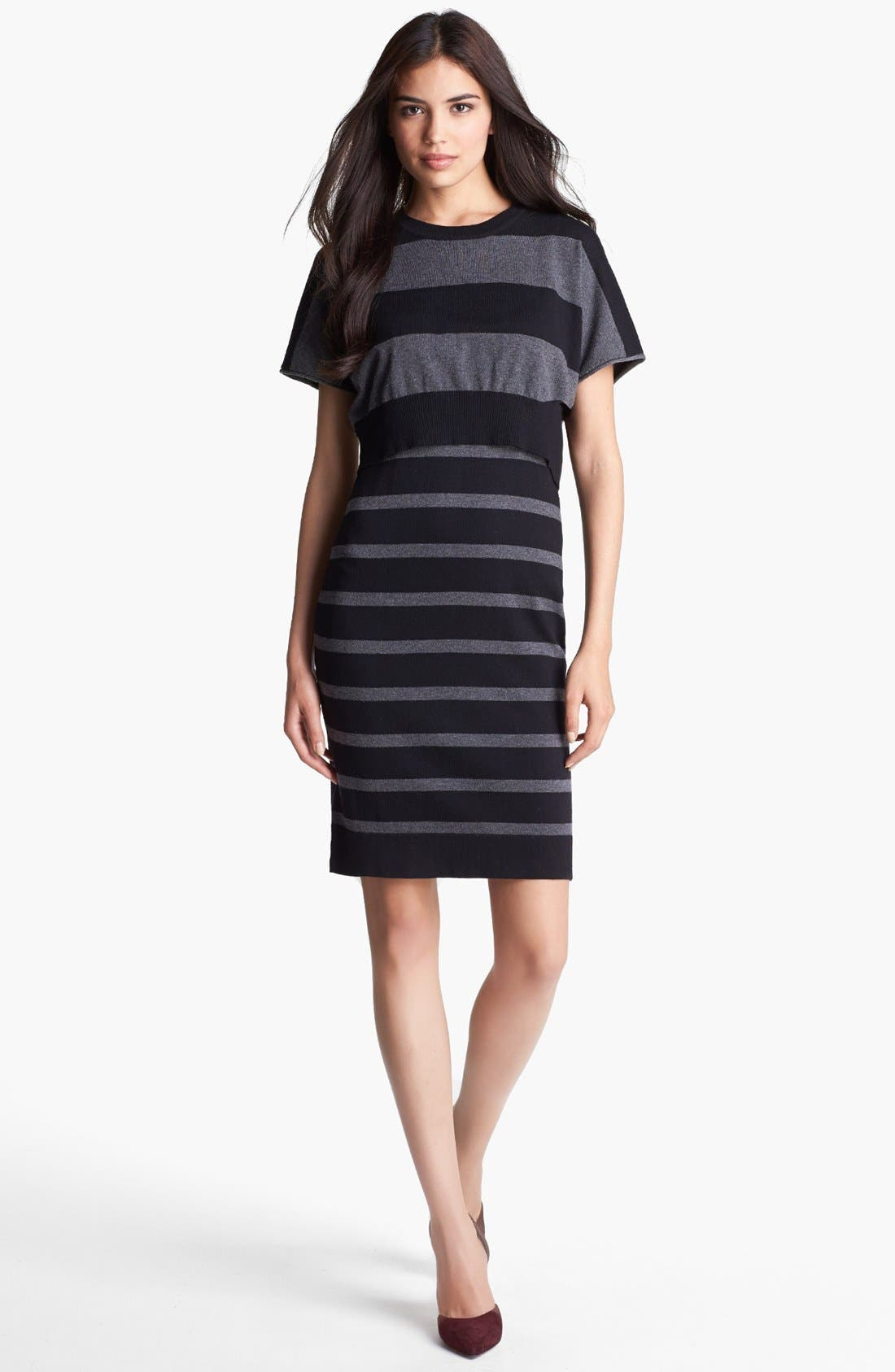 Alternate Image 1 Selected - Laundry by Shelli Segal Crop Overlay Stripe Sweater Dress