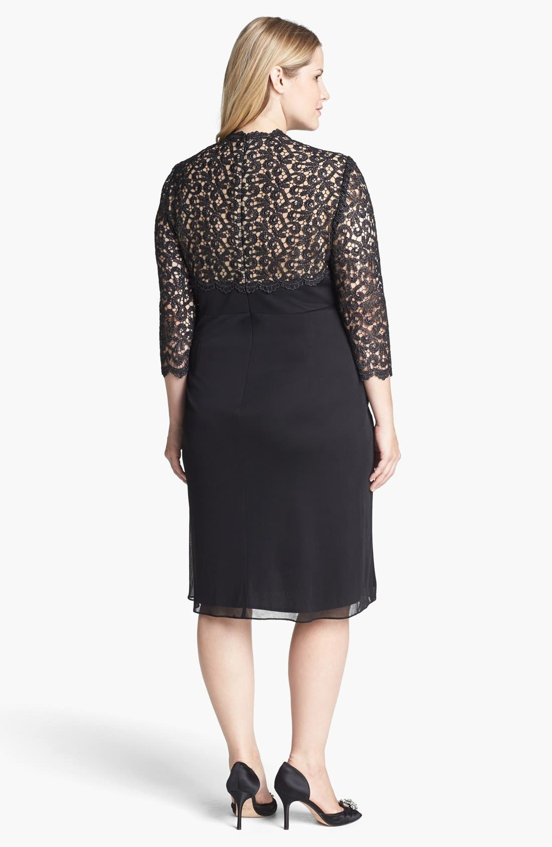 Alternate Image 2  - Alex Evenings Lace Yoke Ruched Dress (Plus Size)