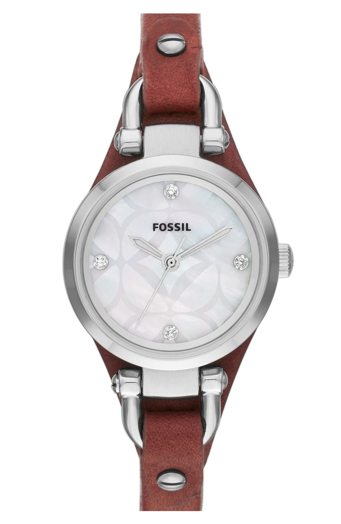 Main Image - Fossil 'Small Georgia' Leather Strap Watch, 26mm