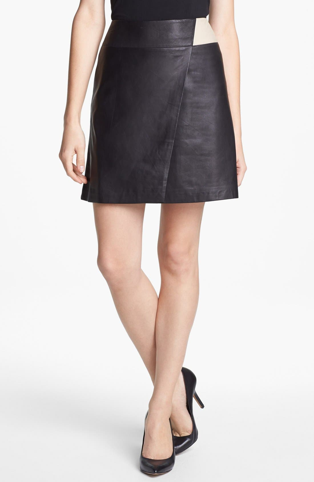 Main Image - Halogen® Colorblock Leather Faux Wrap Skirt