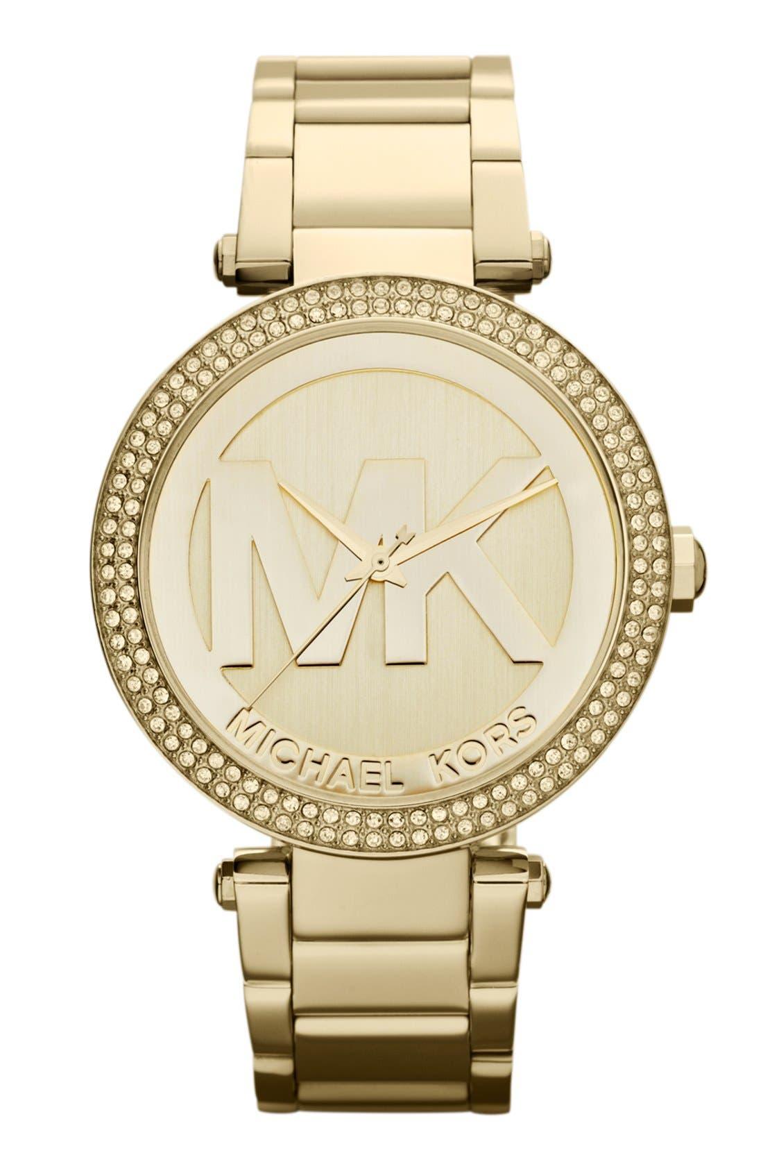 Main Image - Michael Kors Parker Logo Dial Bracelet Watch, 39mm
