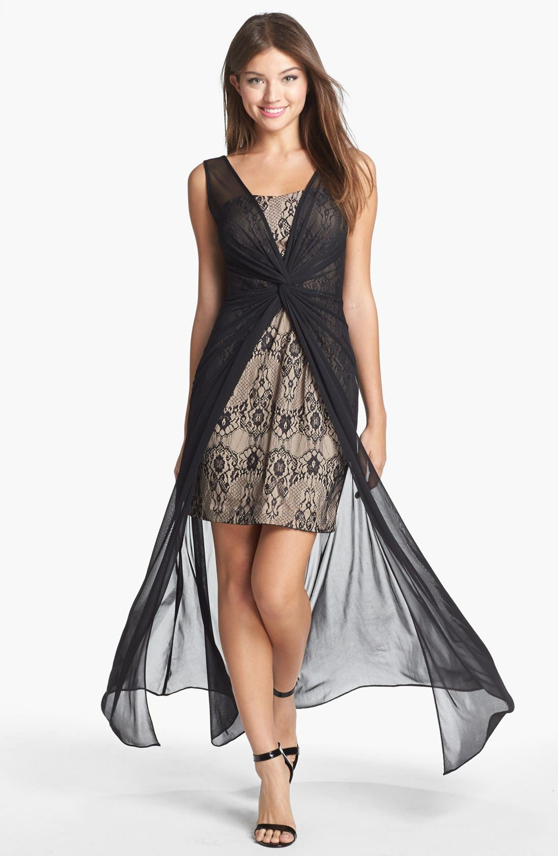 Main Image - Hailey by Adrianna Papell Chiffon Overlay Lace Sheath Dress