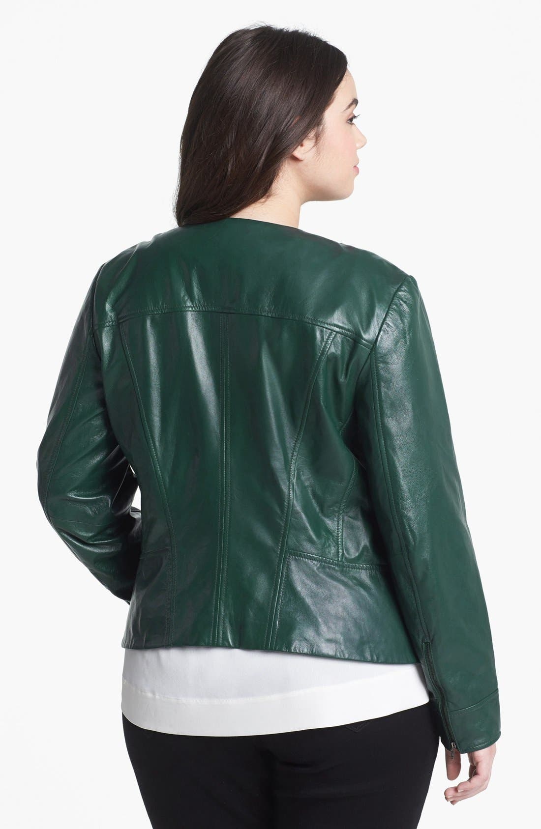 Alternate Image 2  - Halogen® Quilted Lapel Leather Moto Jacket (Plus Size)