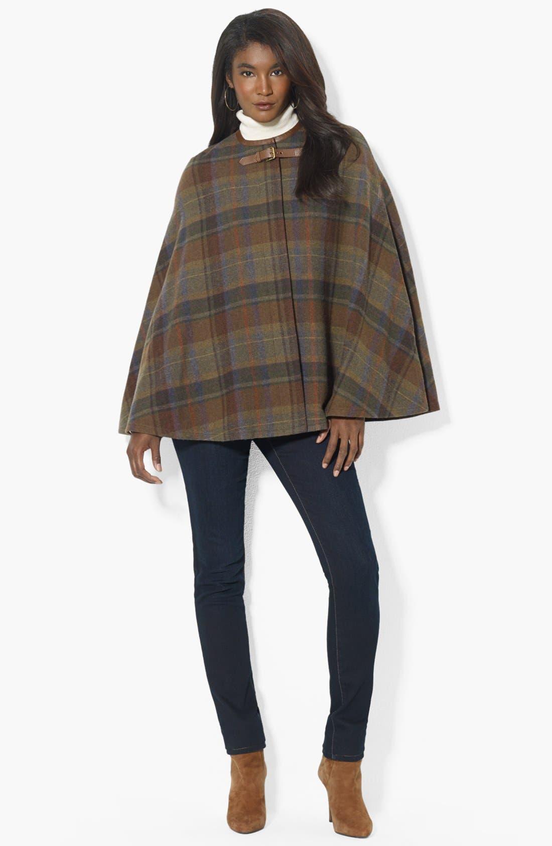 Alternate Image 4  - Lauren Ralph Lauren Plaid Wool Plaid Cape (Online Only)