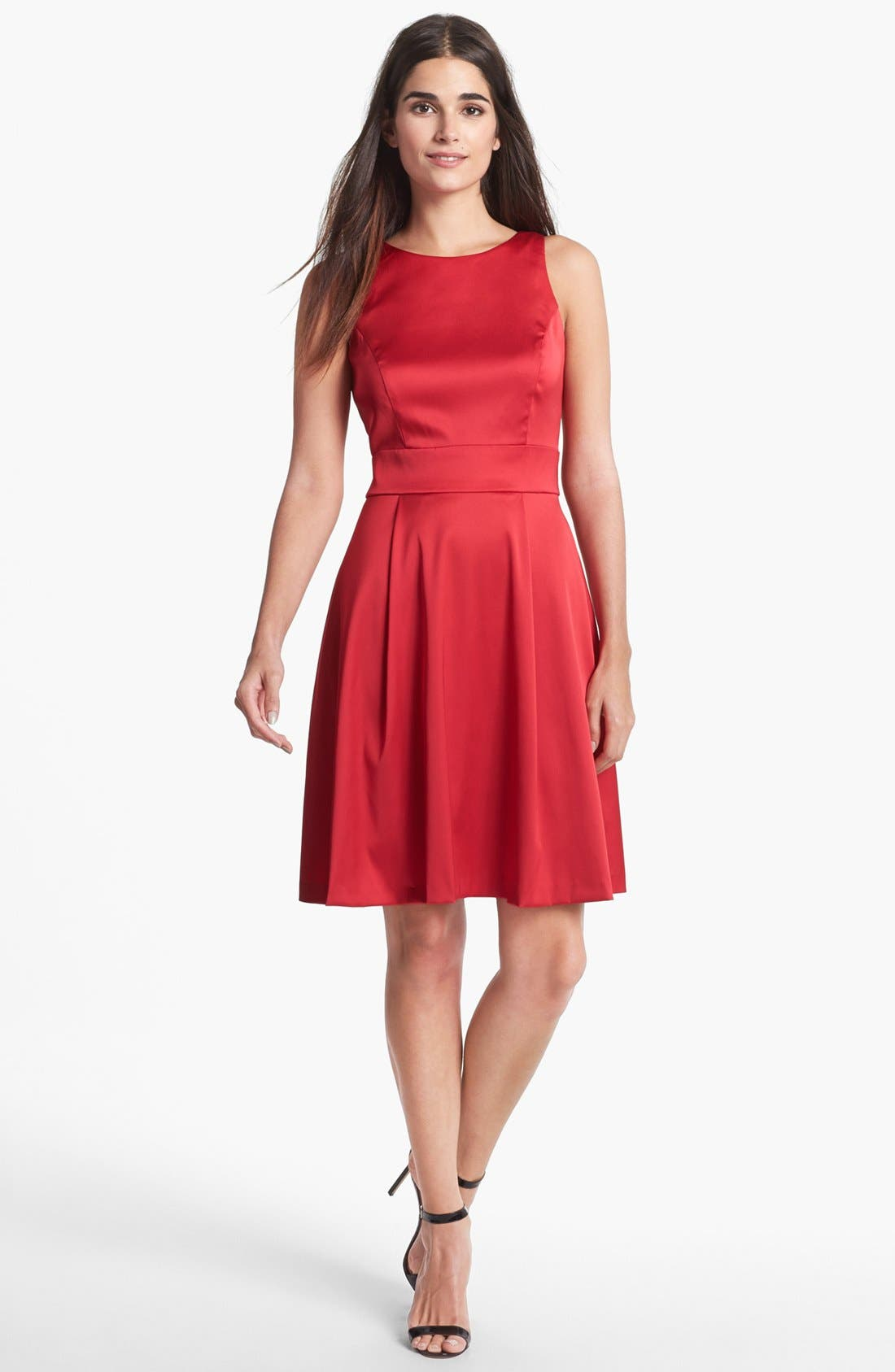 Alternate Image 3  - Donna Ricco Back Bow Satin Fit & Flare Dress