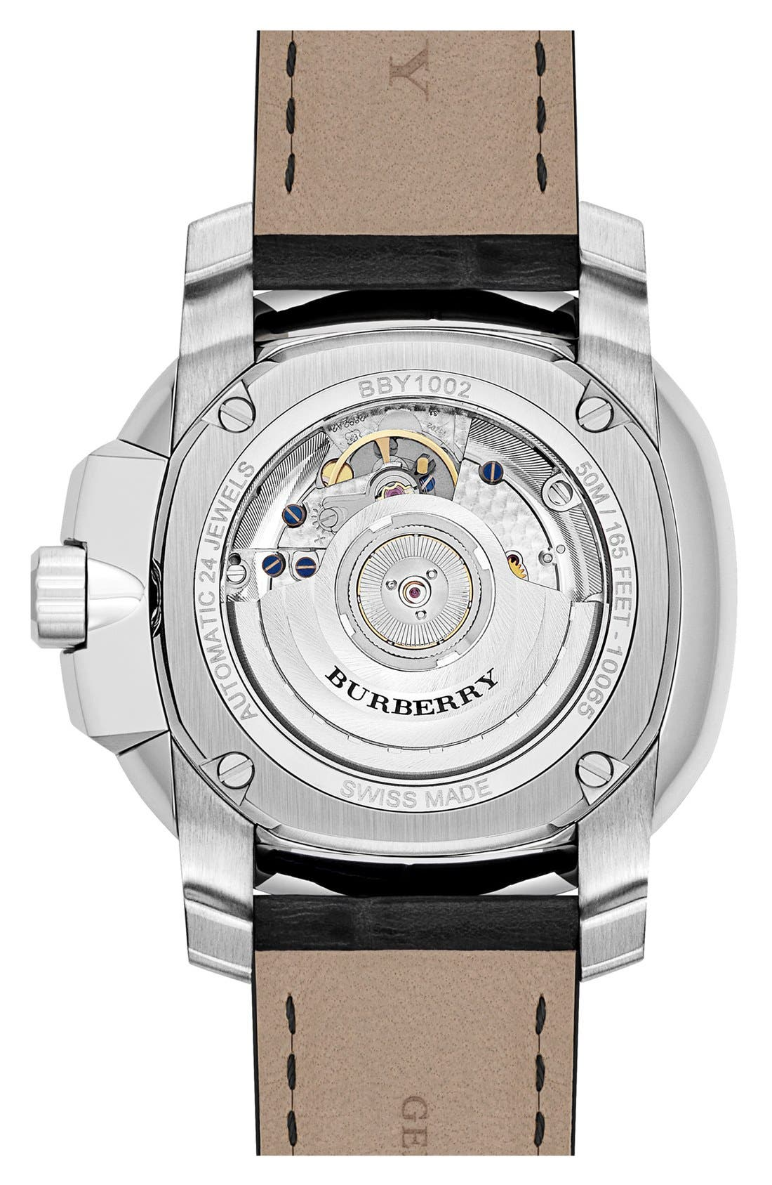 Alternate Image 3  - Burberry The Britain Automatic Alligator Strap Watch, 47mm