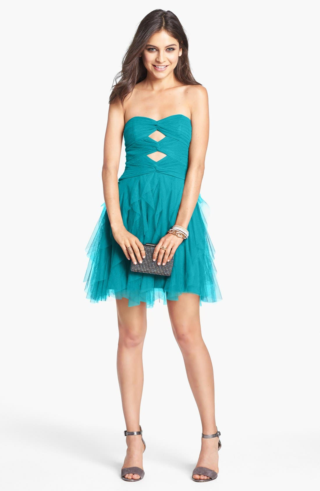 Main Image - Hailey Logan Front Cutout Layered Fit & Flare Dress (Juniors) (Online Only)