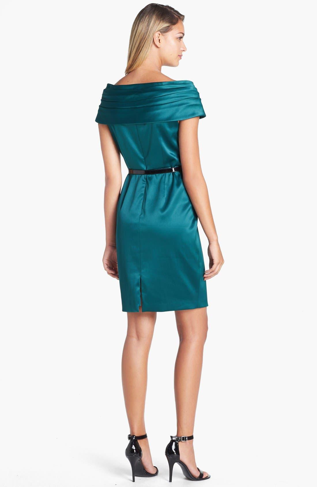 Alternate Image 2  - Adrianna Papell Portrait Collar Satin Sheath Dress