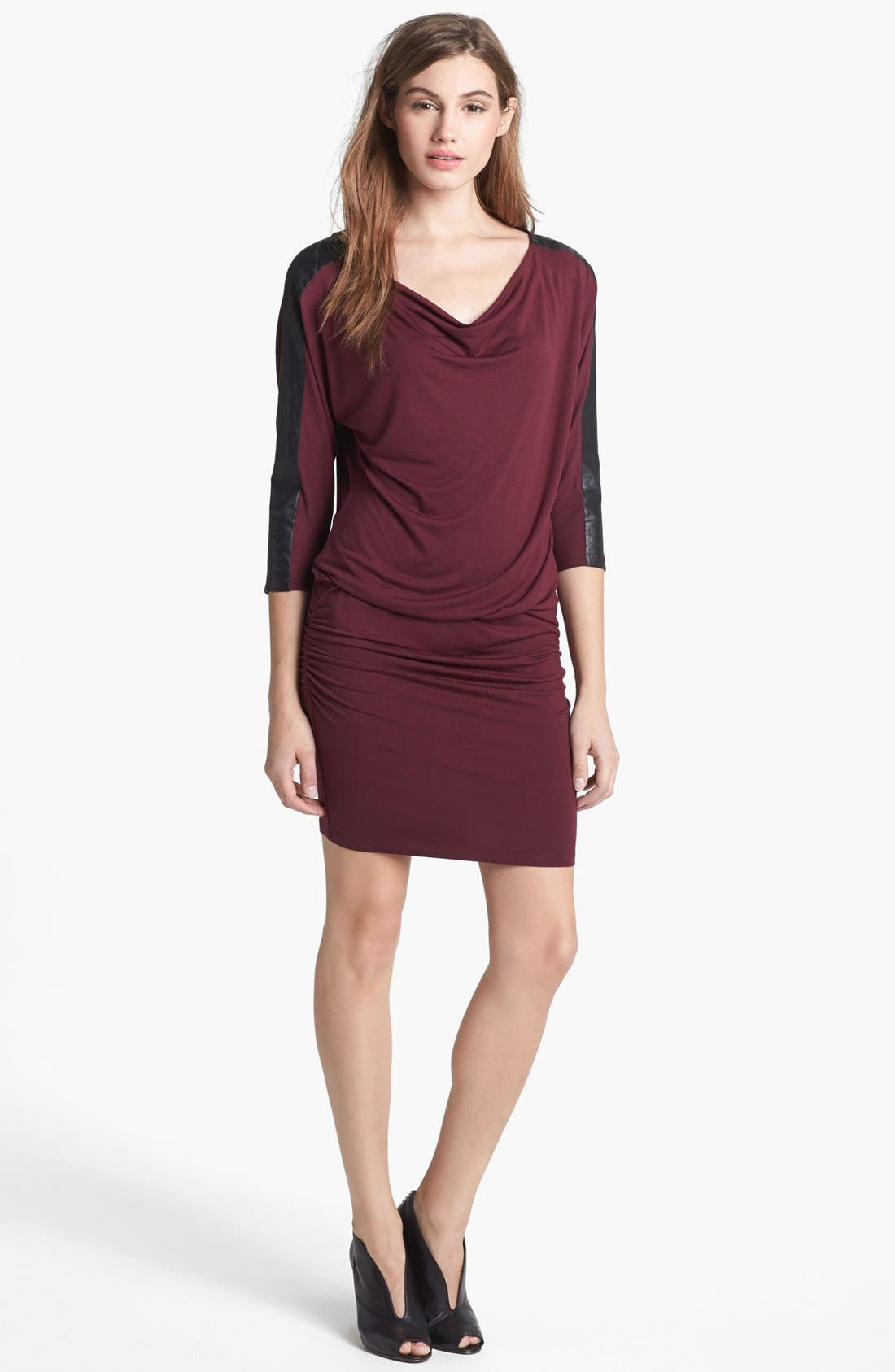 Alternate Image 1 Selected - C & C California Faux Leather & Ponte Knit Dress