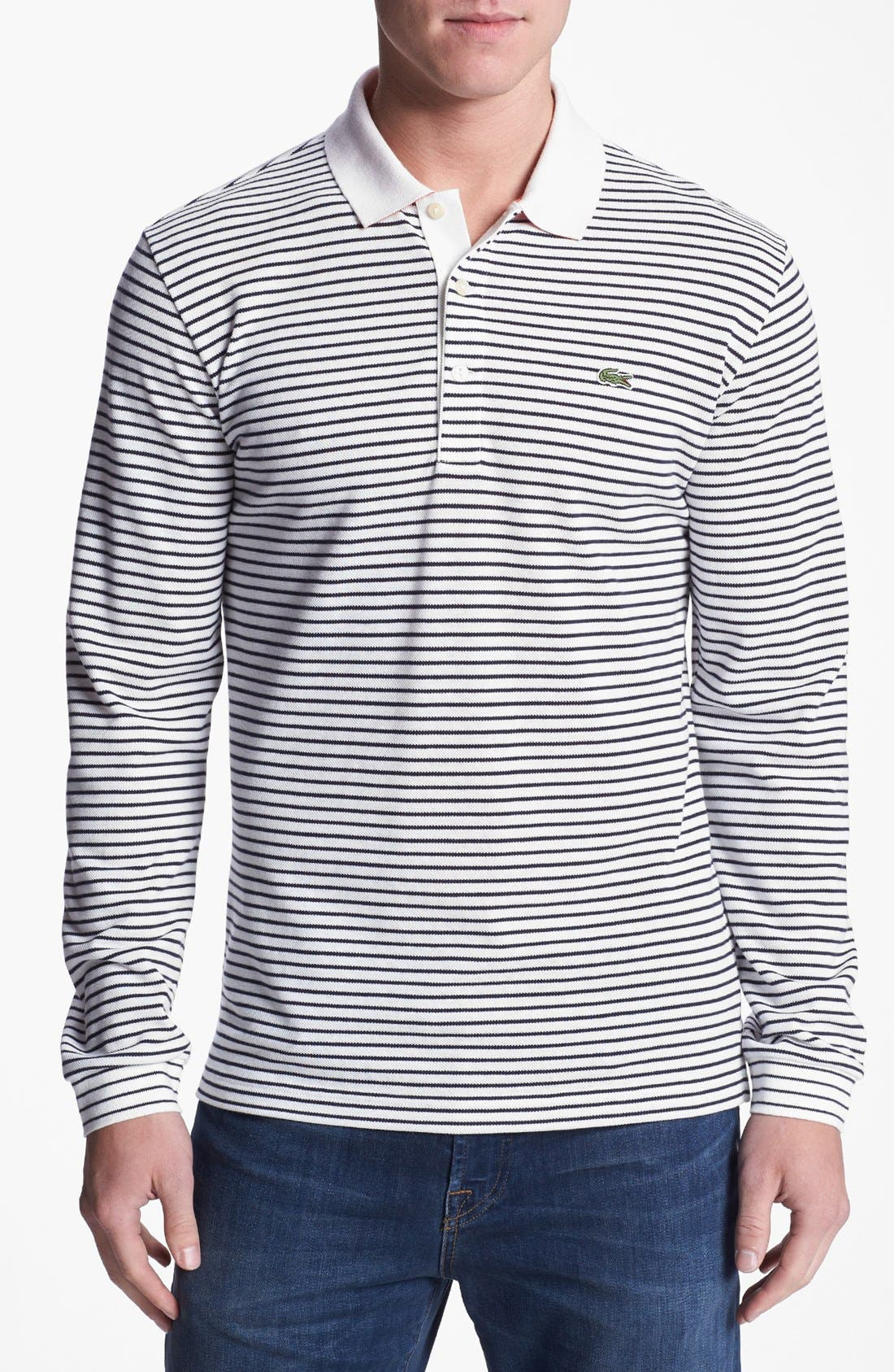 Alternate Image 1 Selected - Lacoste Stripe Double Face Long Sleeve Polo