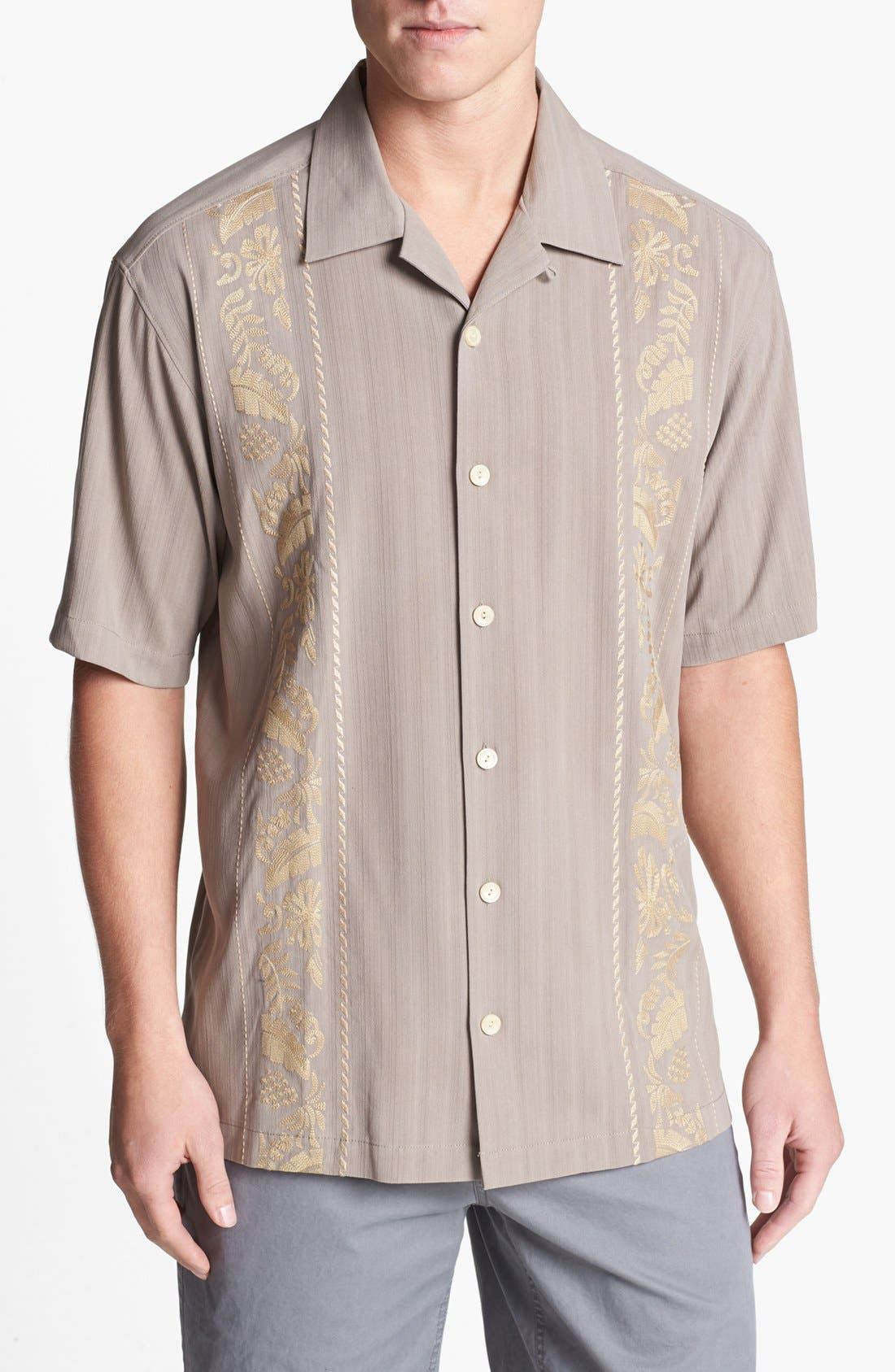 Alternate Image 1 Selected - Tommy Bahama 'Path to Raj' Silk Campshirt