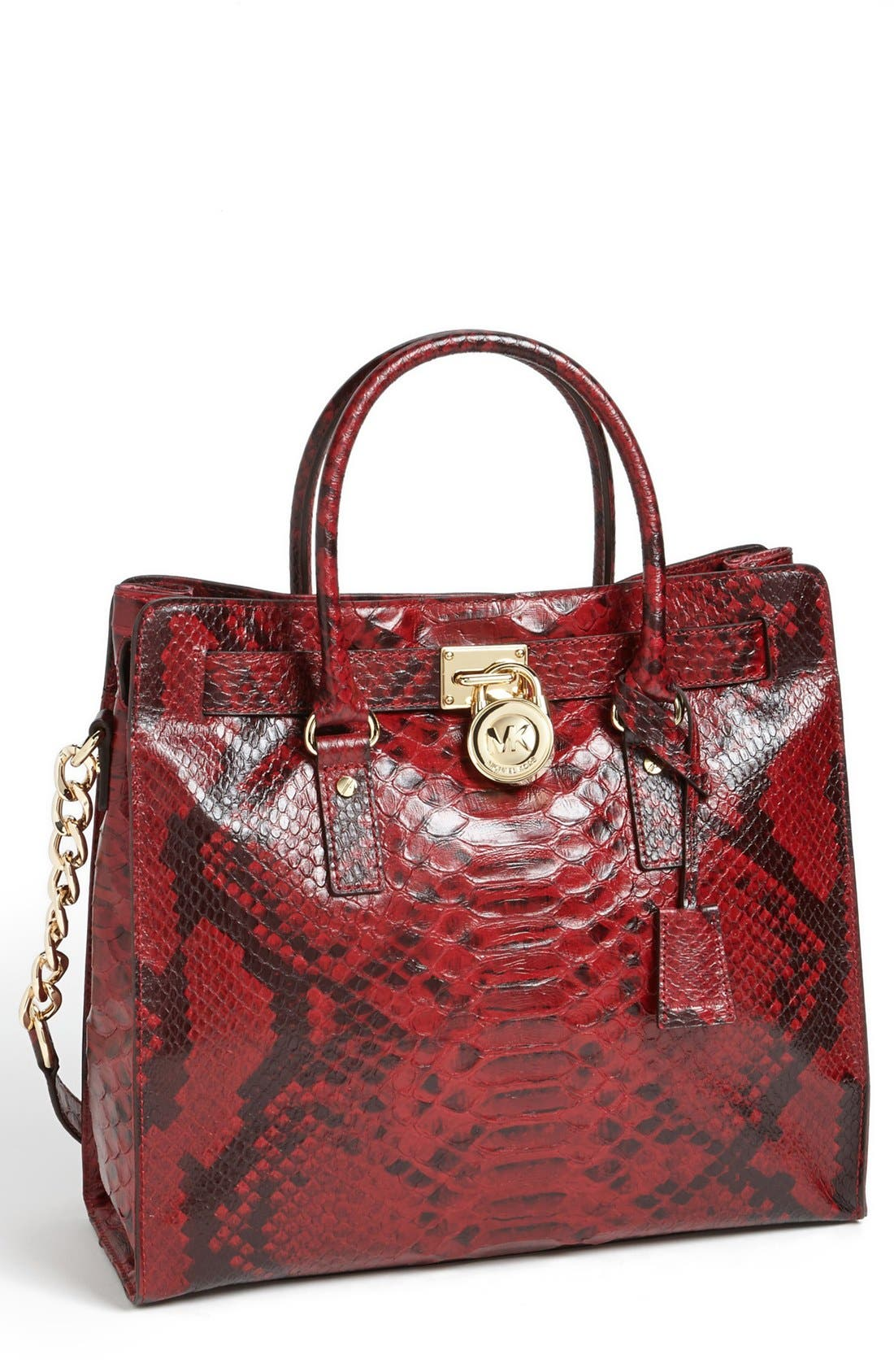 Alternate Image 1 Selected - MICHAEL Michael Kors 'Hamilton – North/South' Snake Embossed Leather Tote