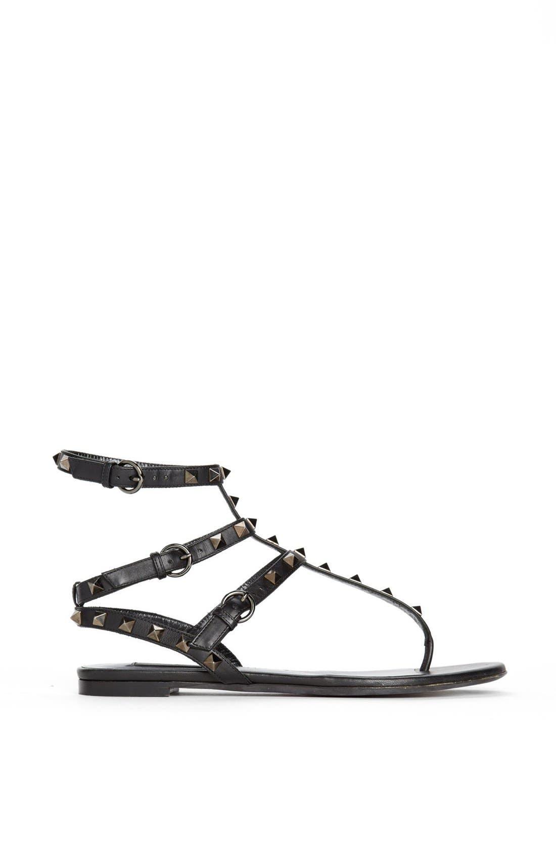Alternate Image 4  - Valentino 'Noir Rockstud' Thong Sandal