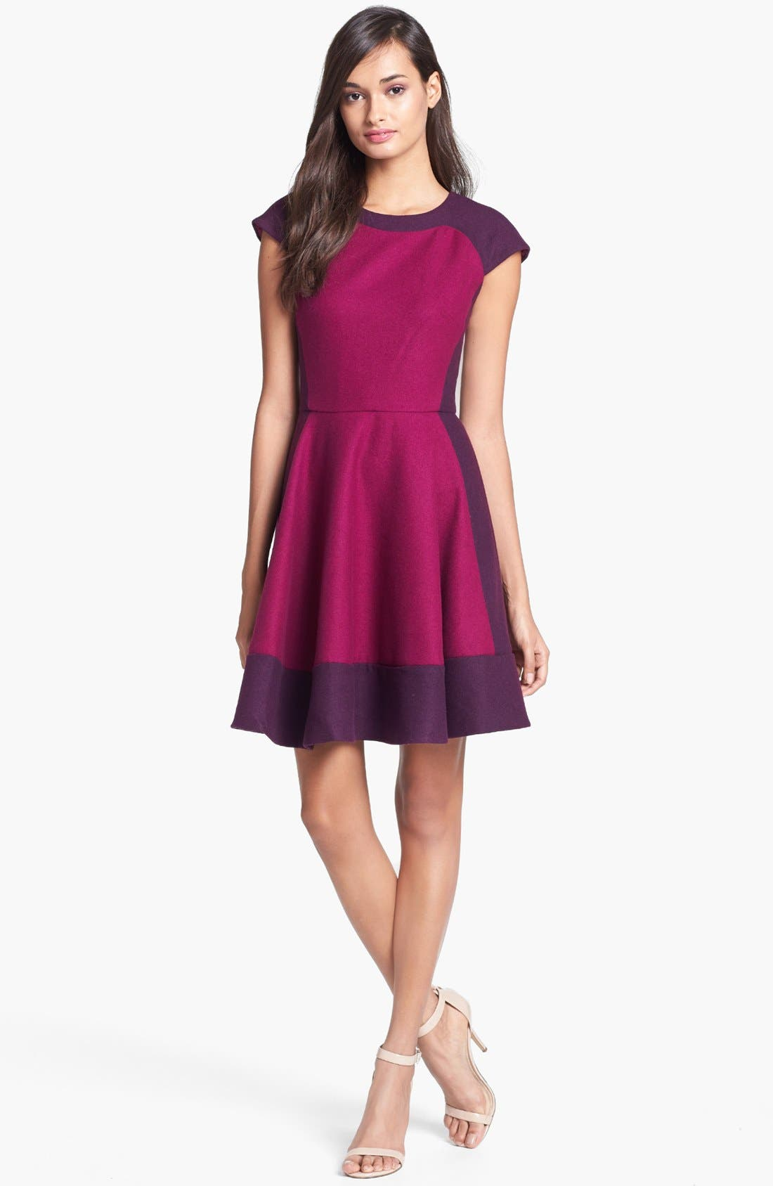 Main Image - Ted Baker London Colorblock Woven A-Line Dress