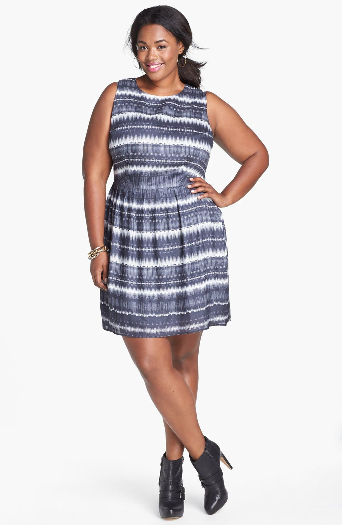 Alternate Image 1 Selected - BB Dakota 'Electricity' Print Crepe Fit & Flare Dress (Plus Size)