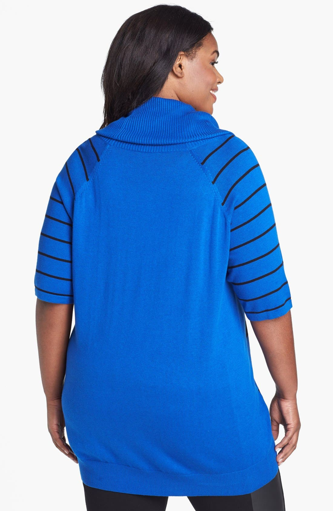 Alternate Image 2  - Vince Camuto Stripe Cowl Neck Sweater (Plus Size)