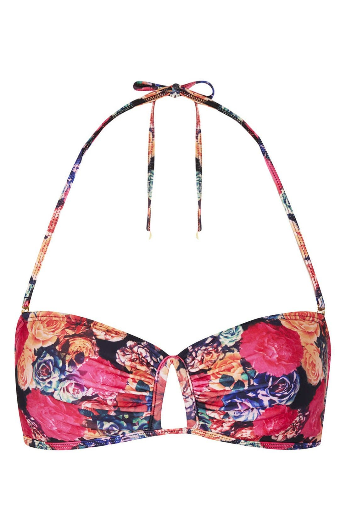 Alternate Image 1 Selected - Topshop 'Trailing Rose' Bandeau Bikini Top