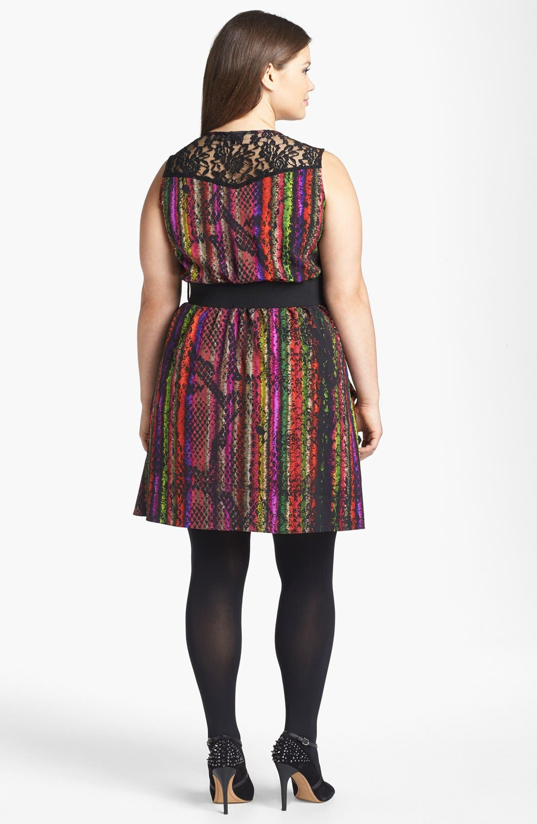 Alternate Image 2  - City Chic 'Rainbow Serpent' Lace Trim Print Top(Plus Size)