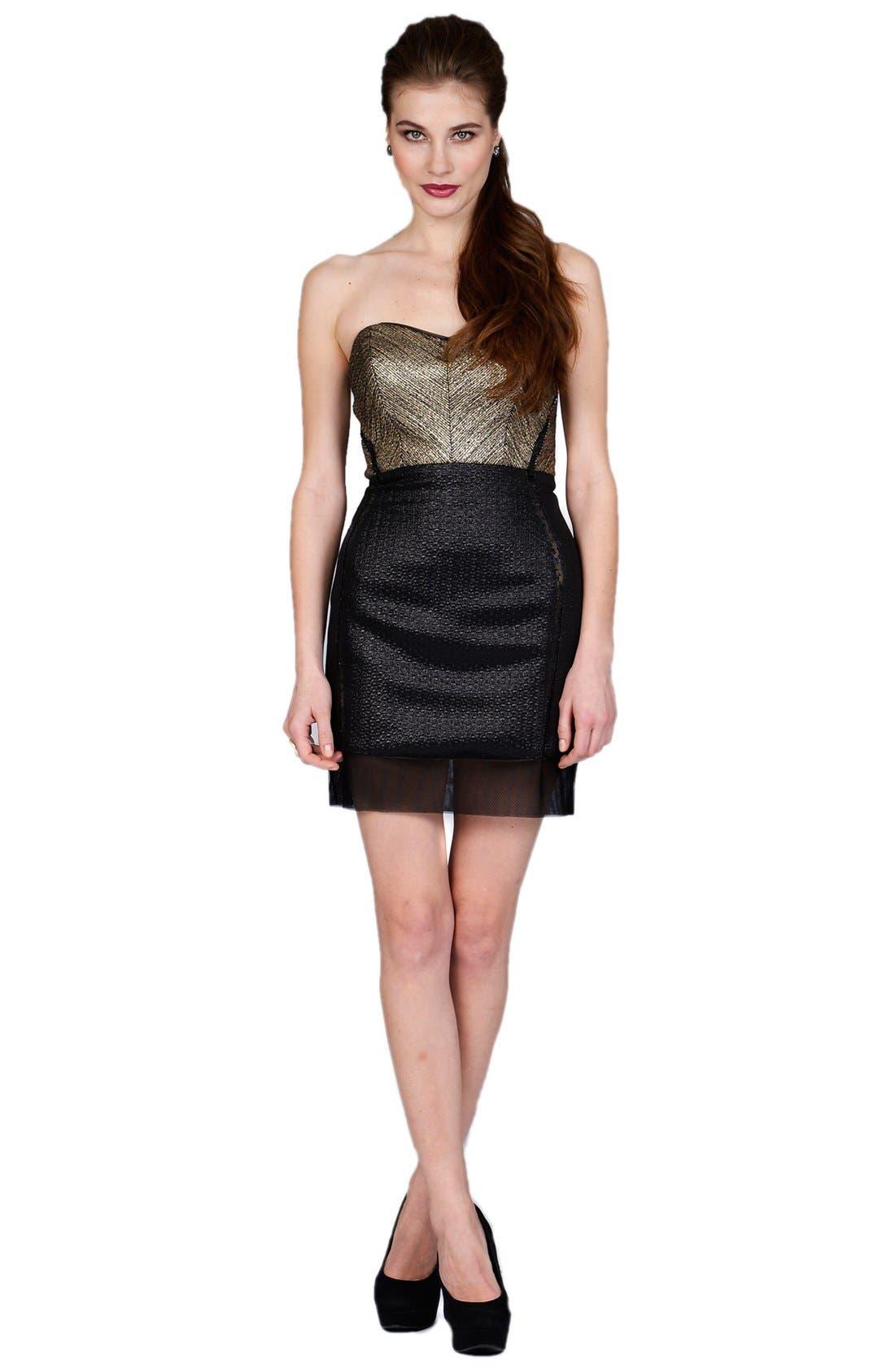 Main Image - Phoebe by Kay Unger Metallic Bodice Mixed Jacquard Sheath Dress
