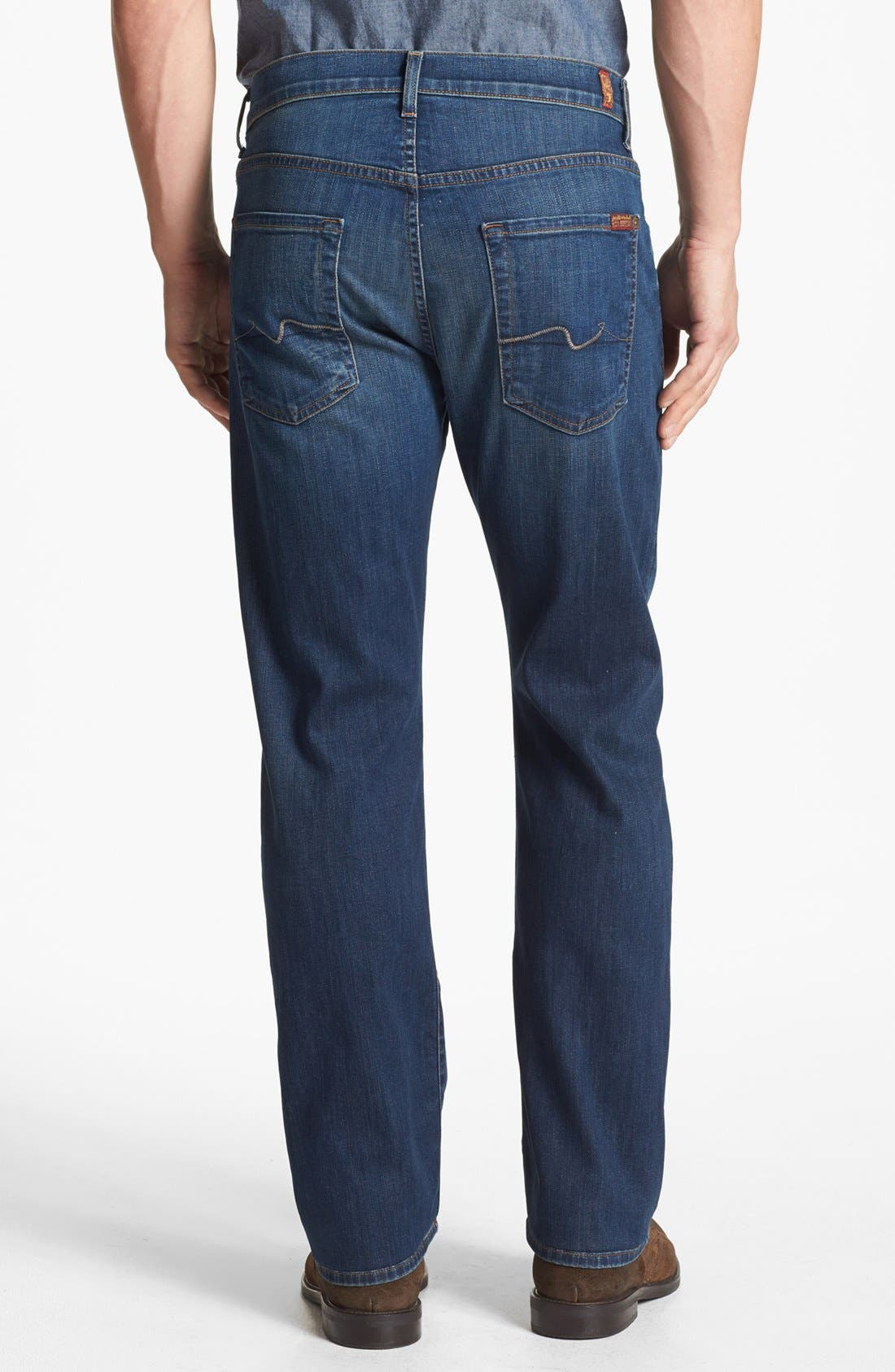 Alternate Image 2  - 7 For All Mankind® 'Carsen - Luxe Performance' Easy Straight Leg Jeans (Half Moon Blue)