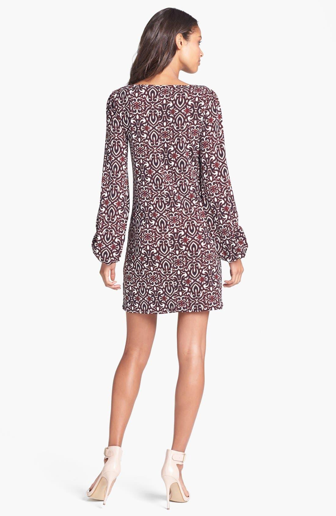 Alternate Image 2  - Laundry by Shelli Segal Blouson Sleeve Print Jersey Dress (Regular & Petite)