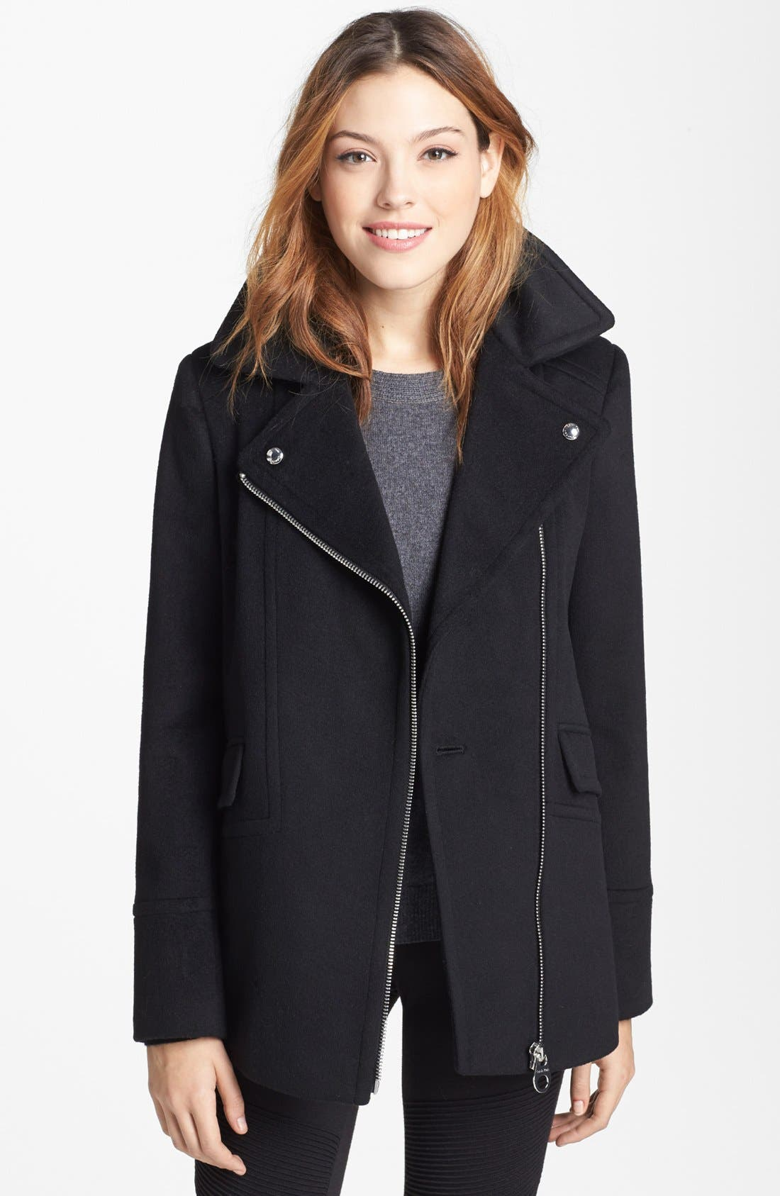 Alternate Image 2  - Calvin Klein Faux Fur Collar Wool Blend Moto Coat