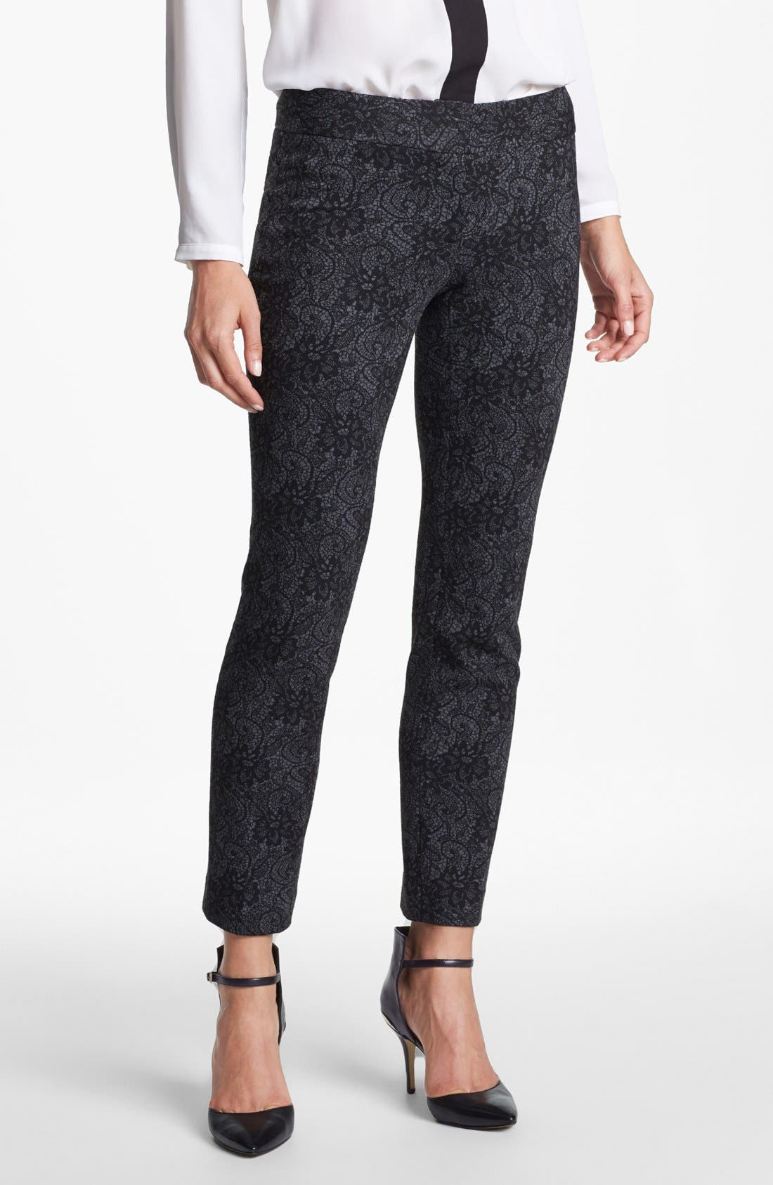 Alternate Image 1 Selected - Vince Camuto Lace Print Ponte Ankle Pants (Petite)