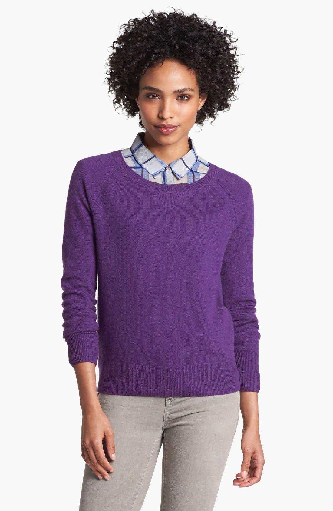 Alternate Image 1 Selected - Halogen® Raglan Sleeve Cashmere Sweater (Petite)