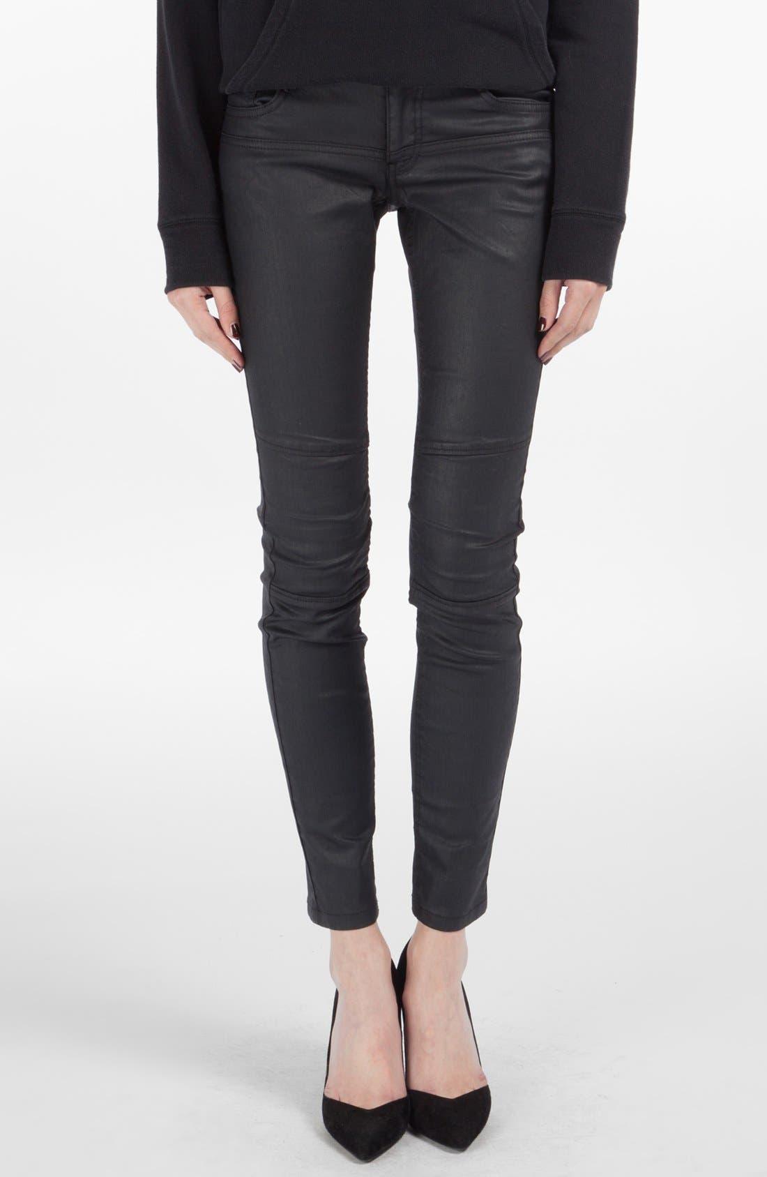 Main Image - maje 'Samir' Coated Skinny Jeans (Marine)