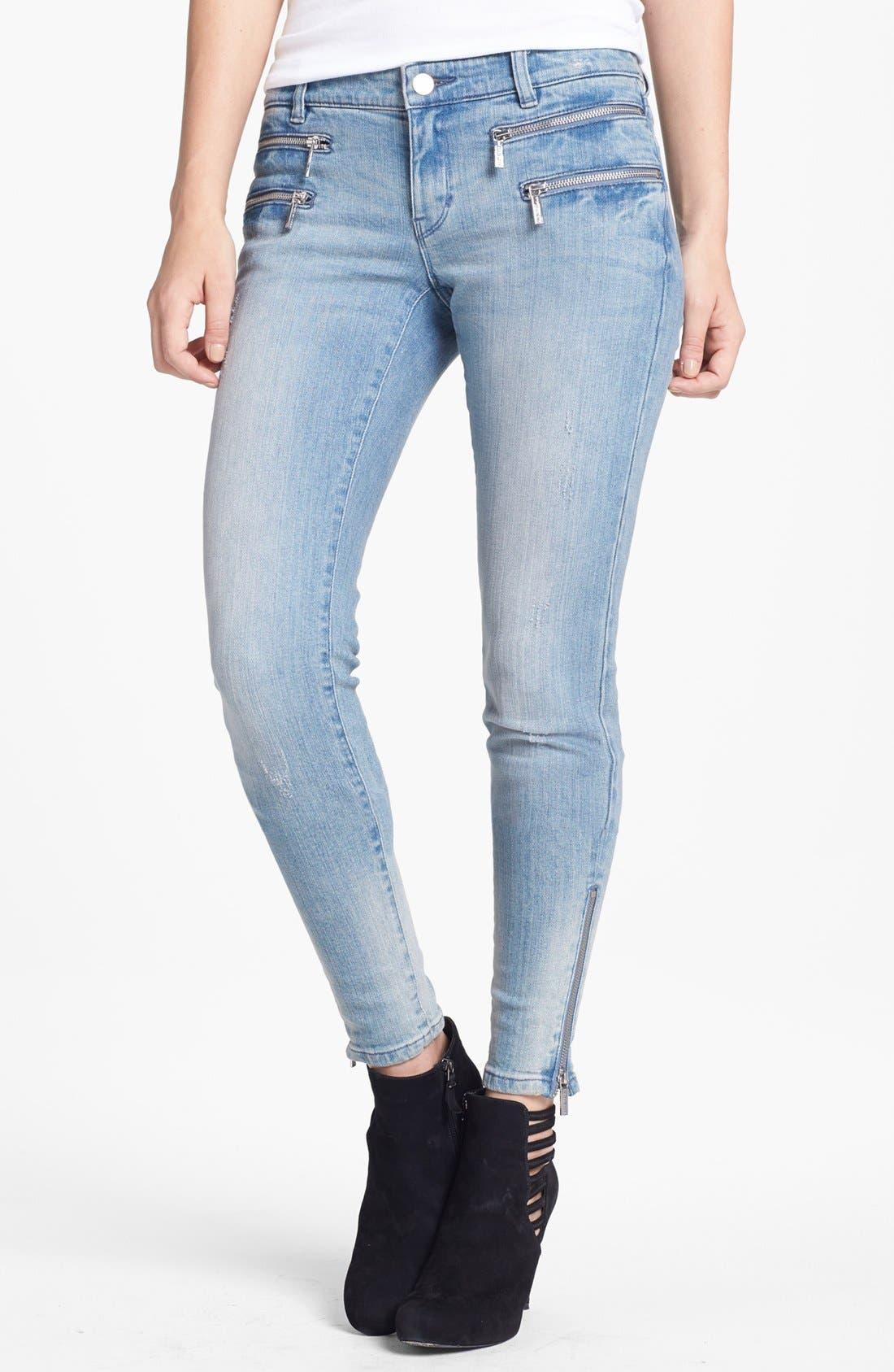 Main Image - MICHAEL Michael Kors Zip Detail Skinny Jeans (Village Blue)