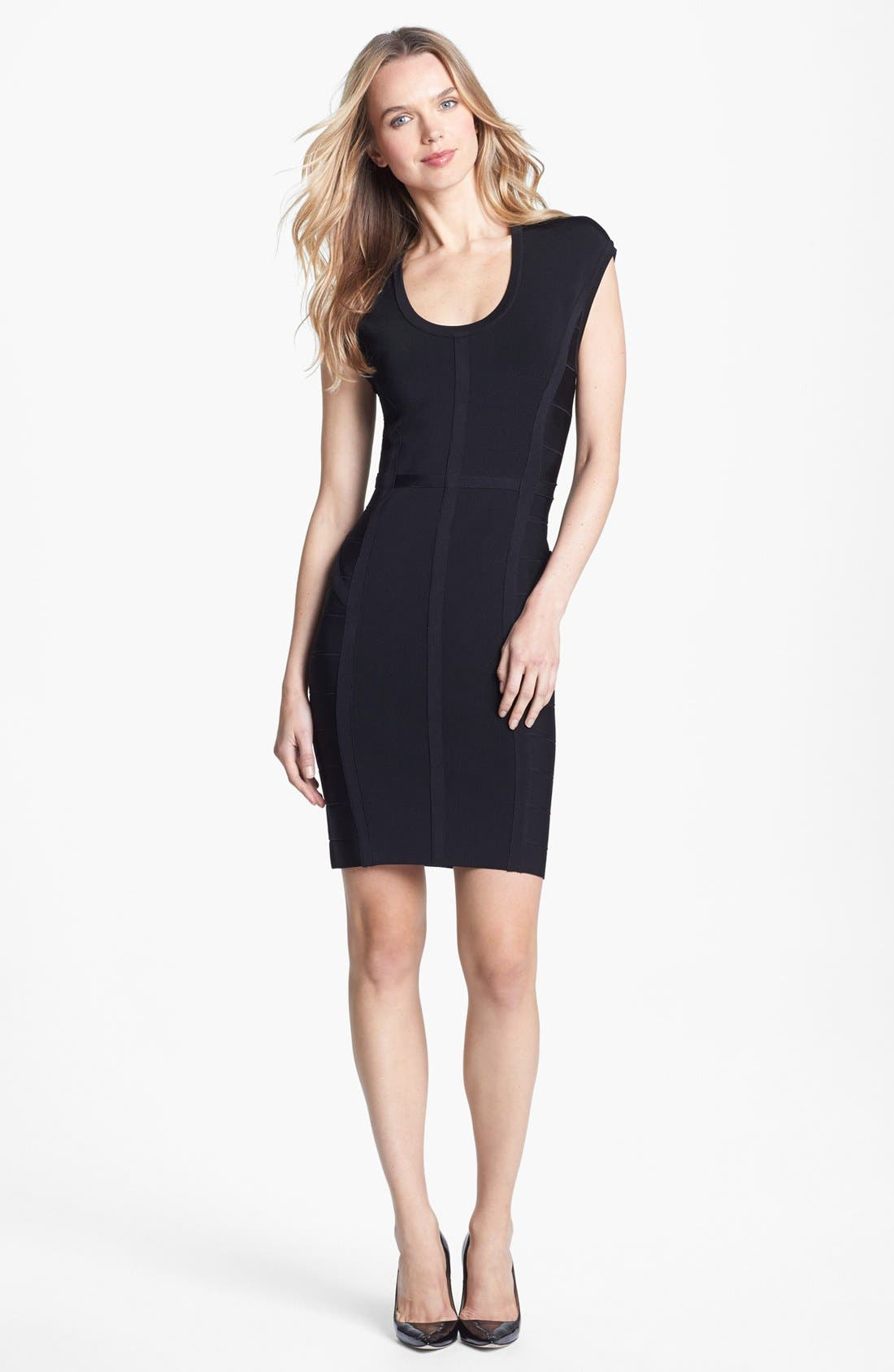 Main Image - Vince Camuto Banded Cap Sleeve Knit Dress