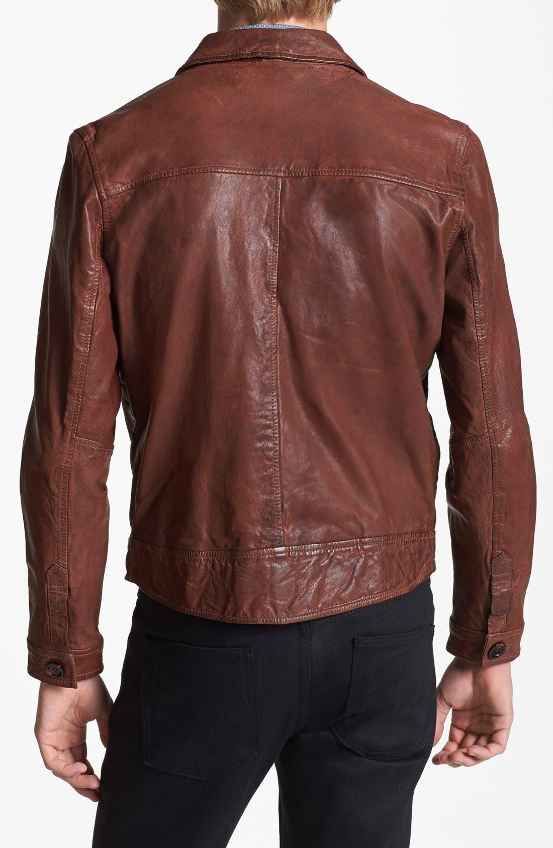 Alternate Image 2  - Topman Vintage Leather Jacket