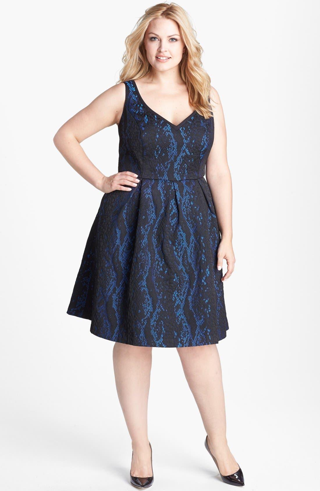 Main Image - ABS by Allen Schwartz Python Jacquard Cocktail Dress (Plus Size)