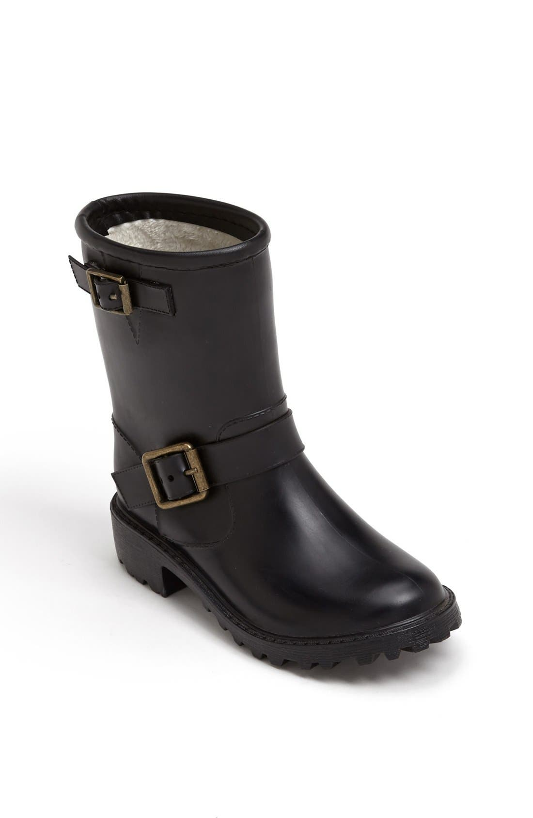 Alternate Image 1 Selected - däv 'Liverpool' Moto Rain Boot (Toddler & Little Kid)