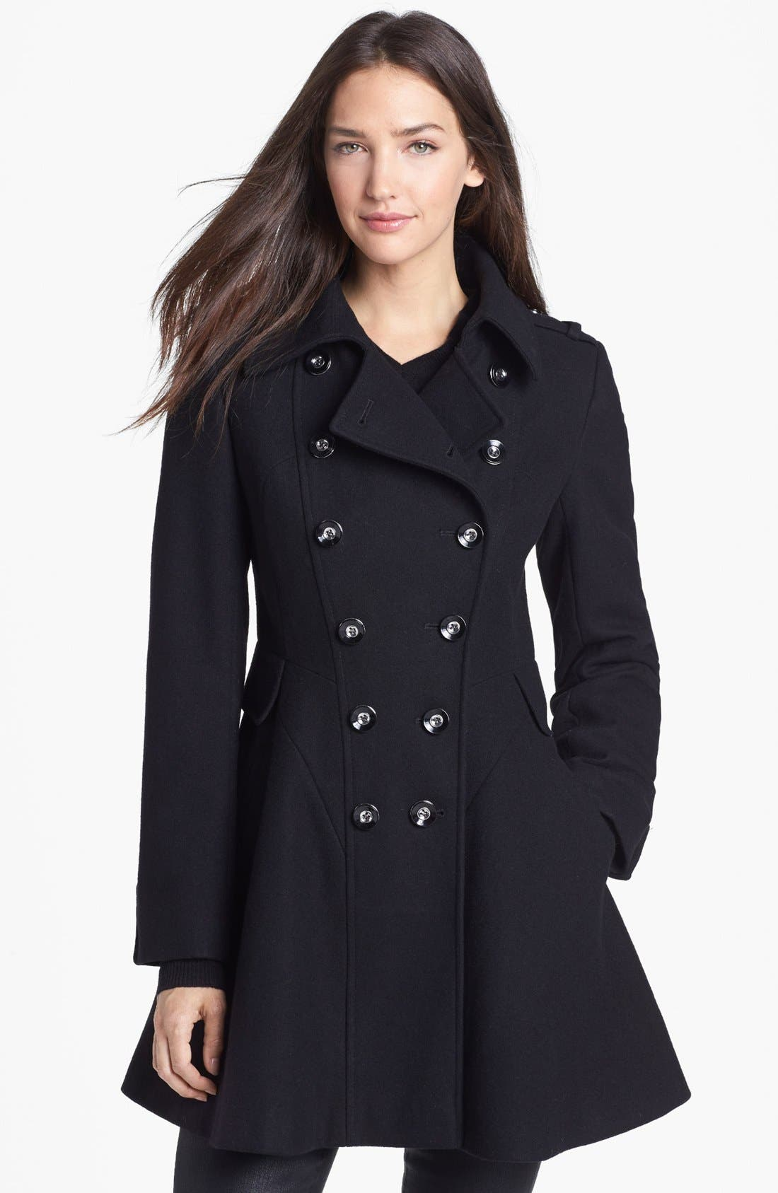 Alternate Image 1 Selected - Via Spiga Double Breasted Wool Blend Military Coat