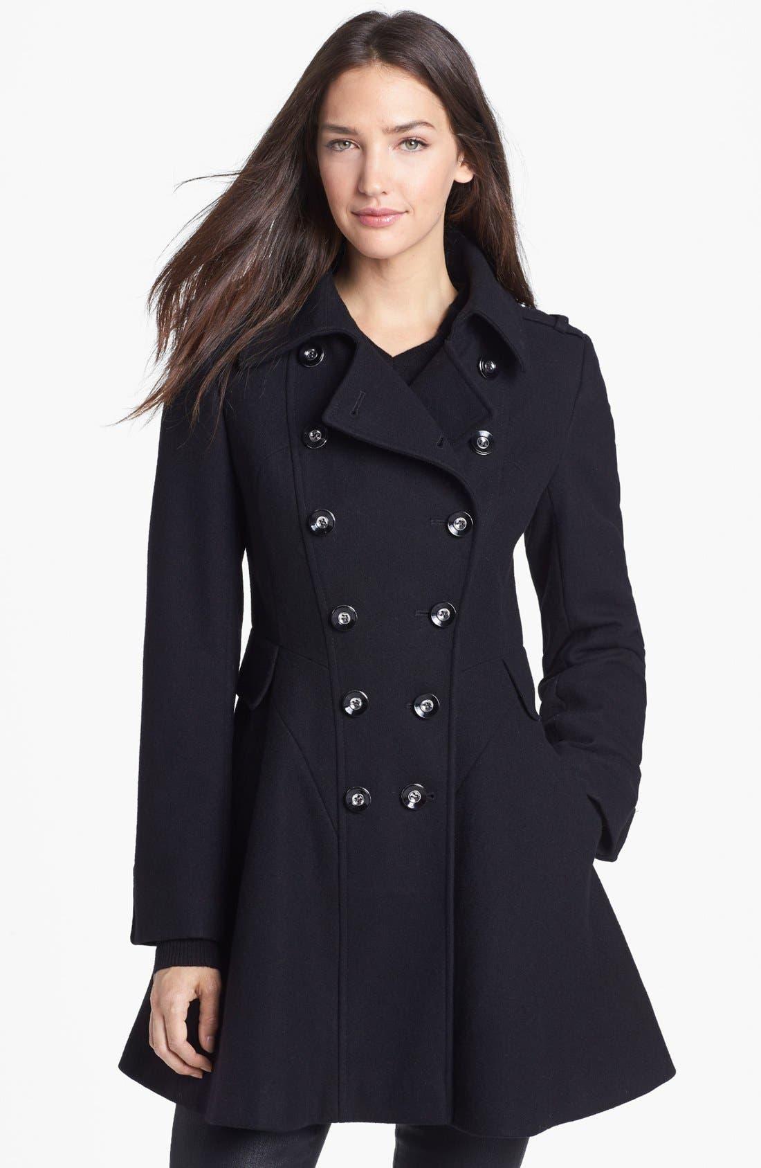 Main Image - Via Spiga Double Breasted Wool Blend Military Coat