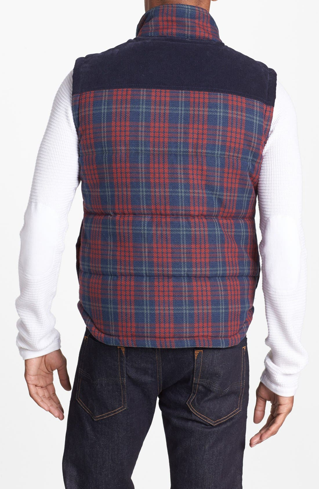 Alternate Image 2  - Kane & Unke Quilted Plaid Vest with Corduroy Yokes