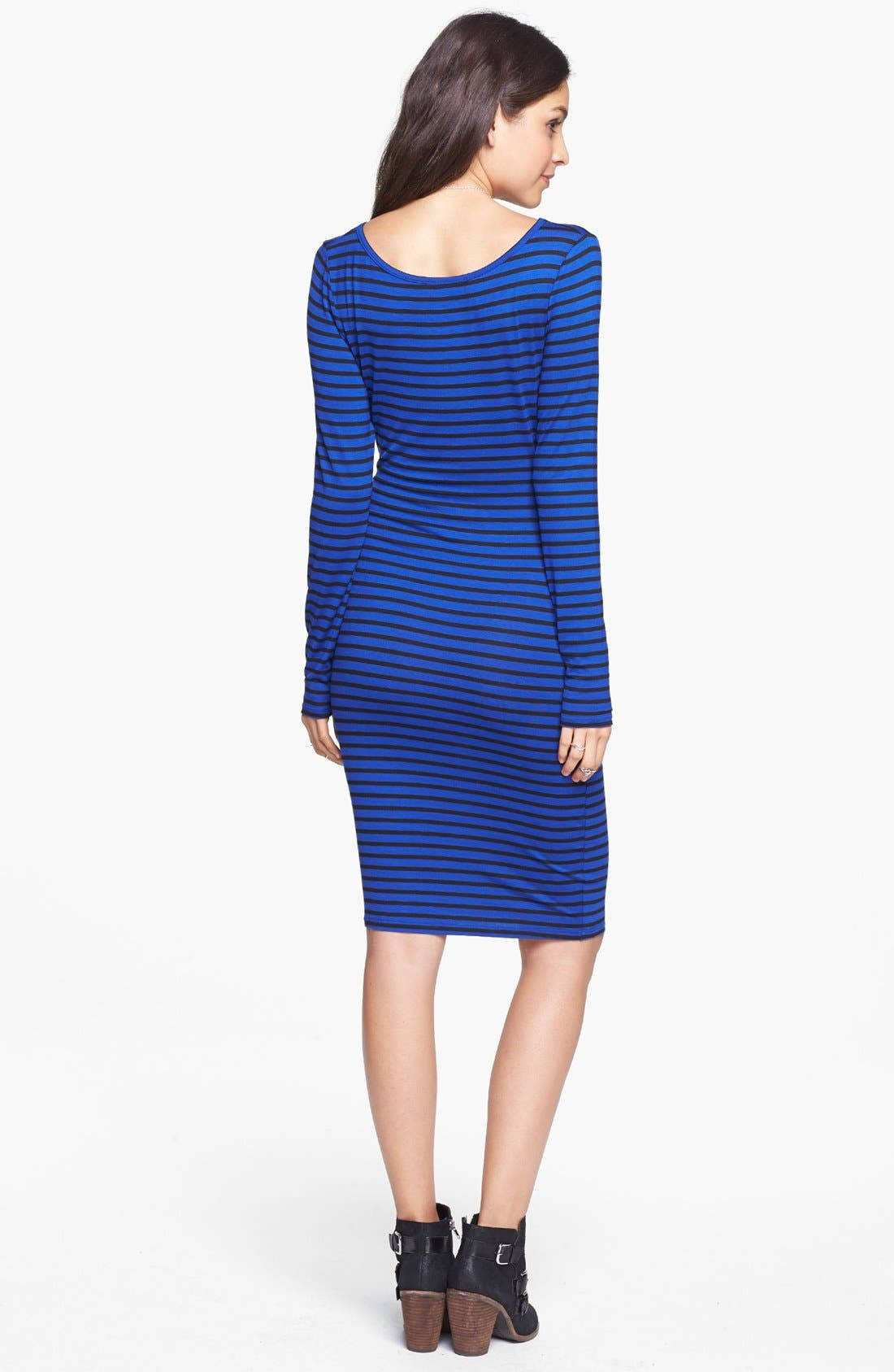 Alternate Image 2  - Socialite Long Sleeve Body-Con Dress (Juniors) (Online Only)