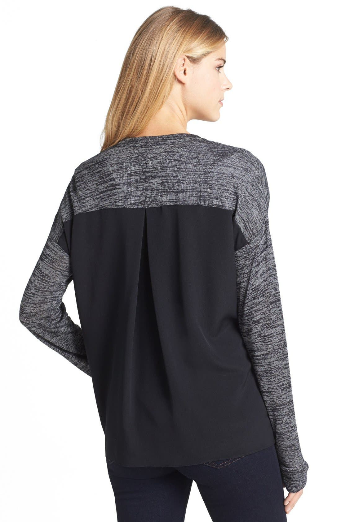Alternate Image 2  - Two by Vince Camuto V-Neck Zip Front Mixed Media Cardigan