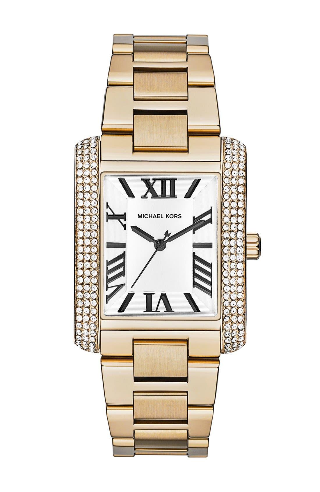 Main Image - Michael Kors 'Emery' Crystal Accent Bracelet Watch, 31mm x 40mm