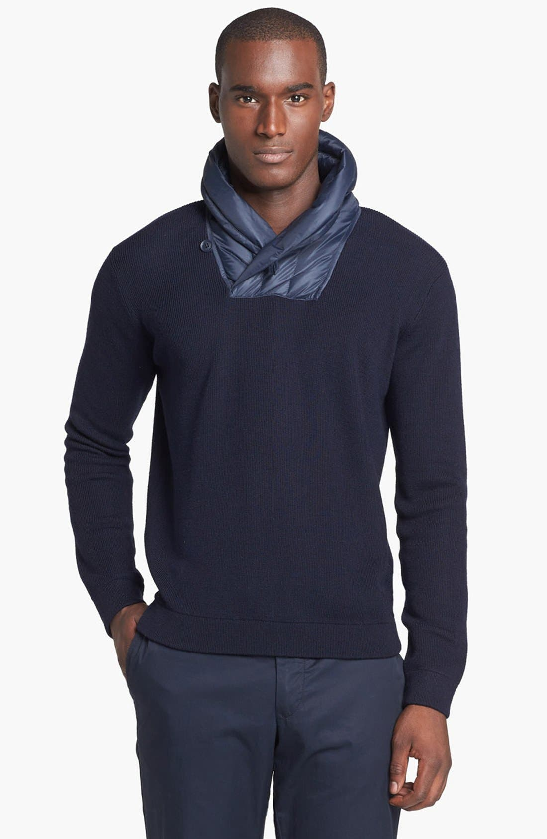 Alternate Image 1 Selected - Zegna Sport Water Repellent Shawl Collar Sweater