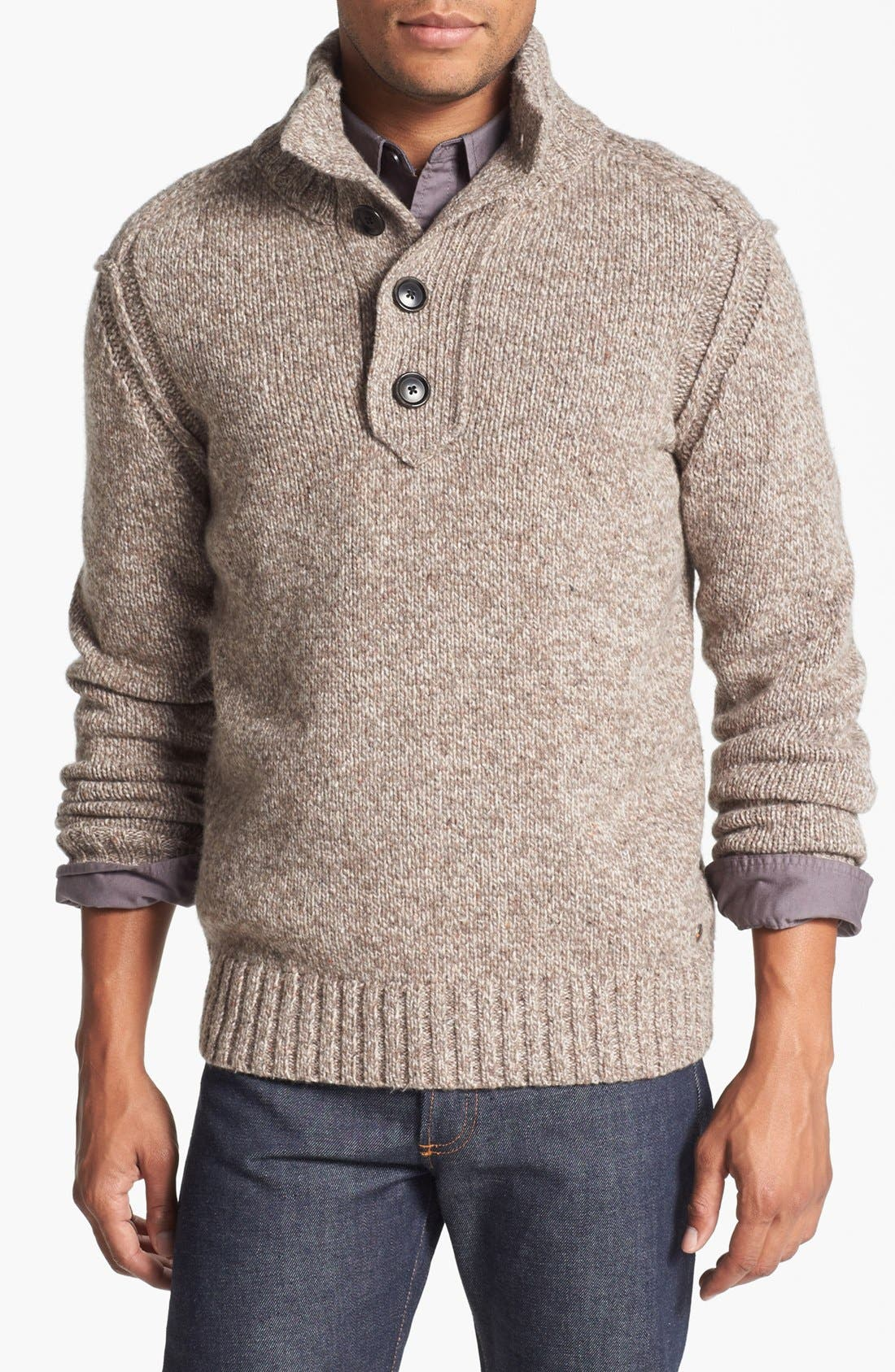 Main Image - BOSS Orange 'Ajeno' Quarter Zip Tweed Yarn Sweater