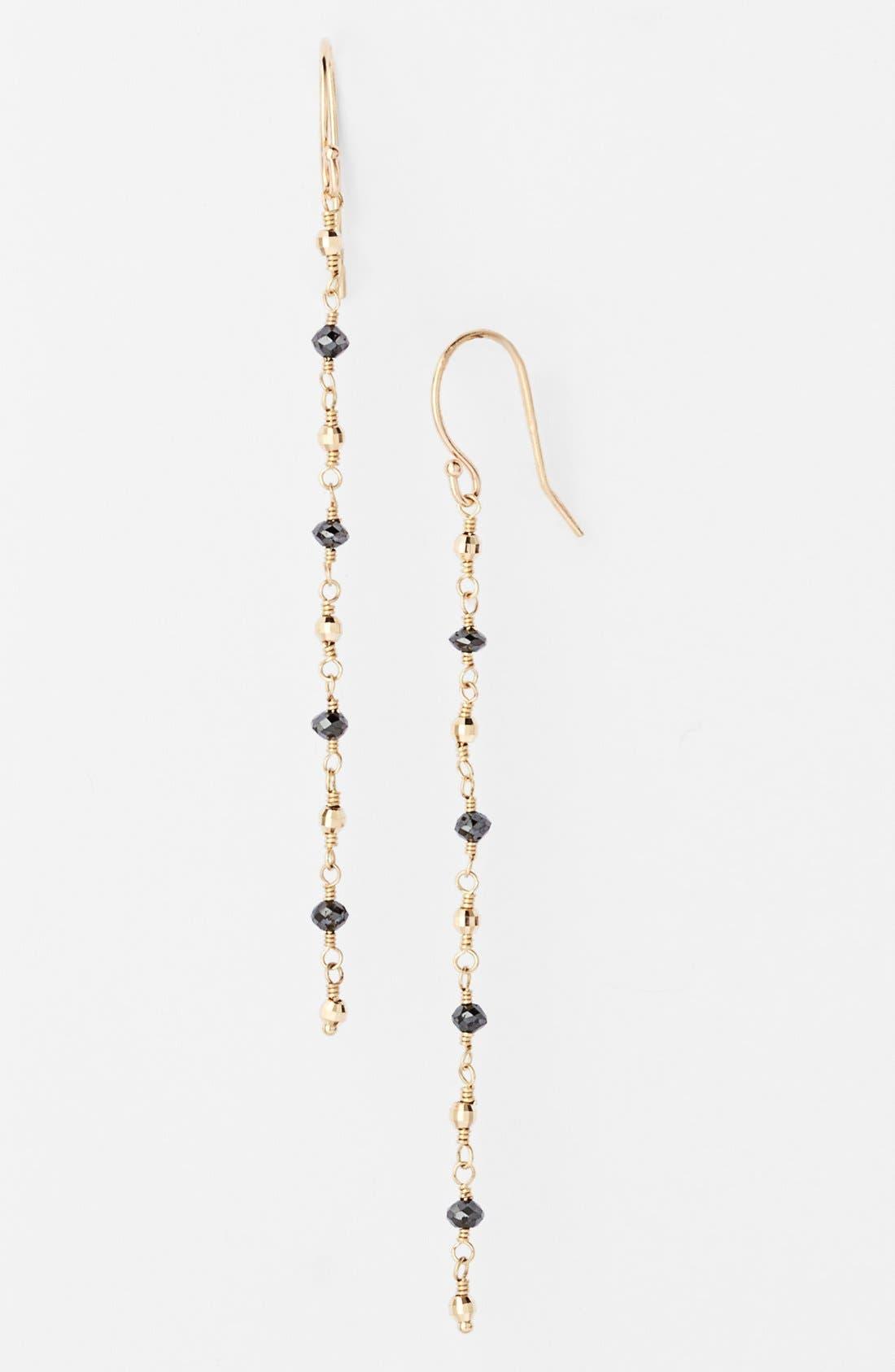 Alternate Image 1 Selected - Mizuki 'Cut Beads' Black Diamond Linear Earrings